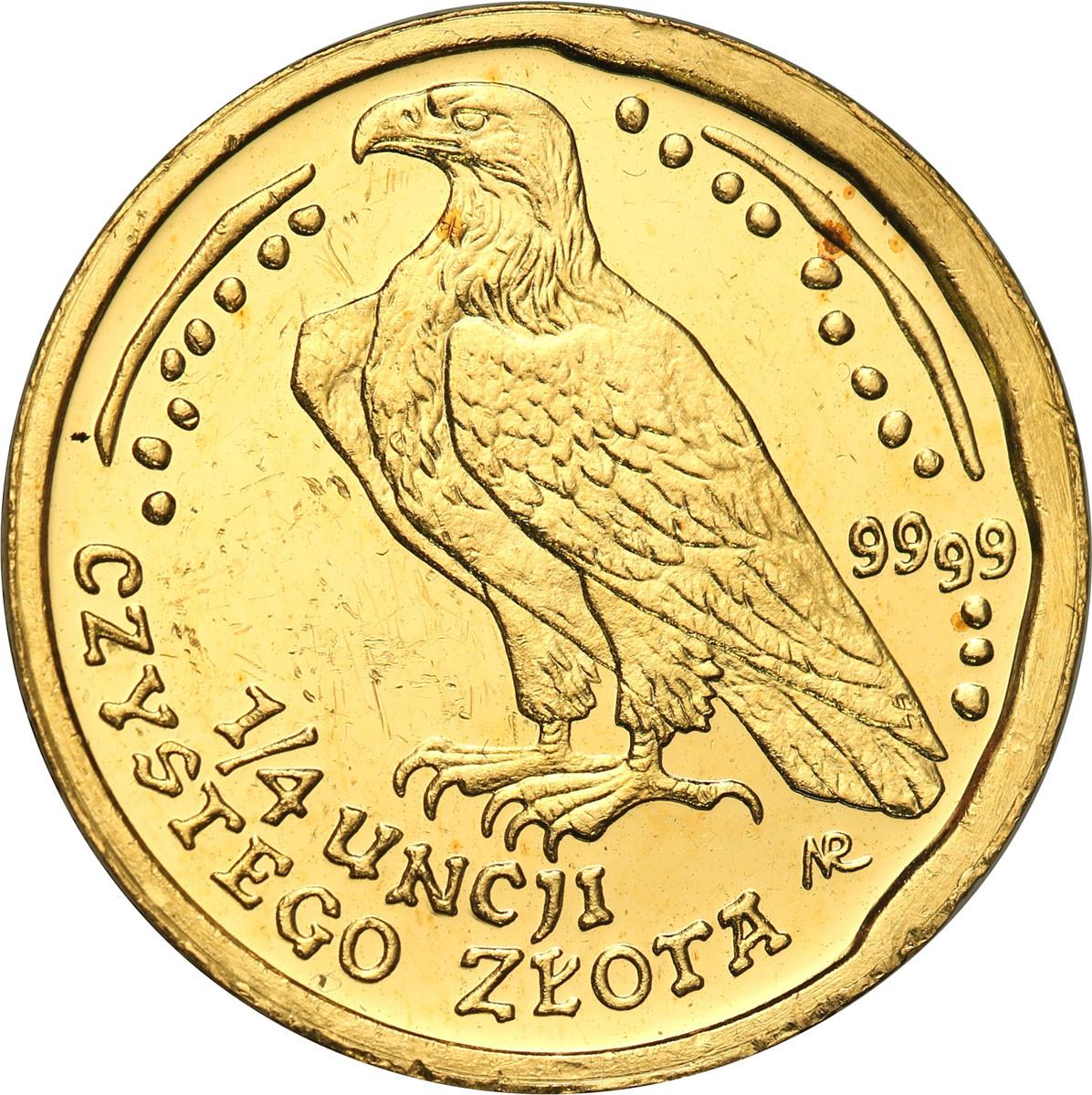 Polska III RP 100 złotych 2002 Orzeł Bielik (1/4 uncji złota) st. 1-