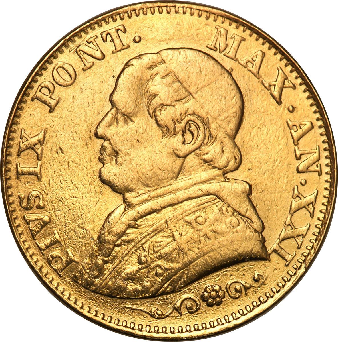 Watykan 10 lirów 1866 / XXI Pius IX RZADKA st. 3