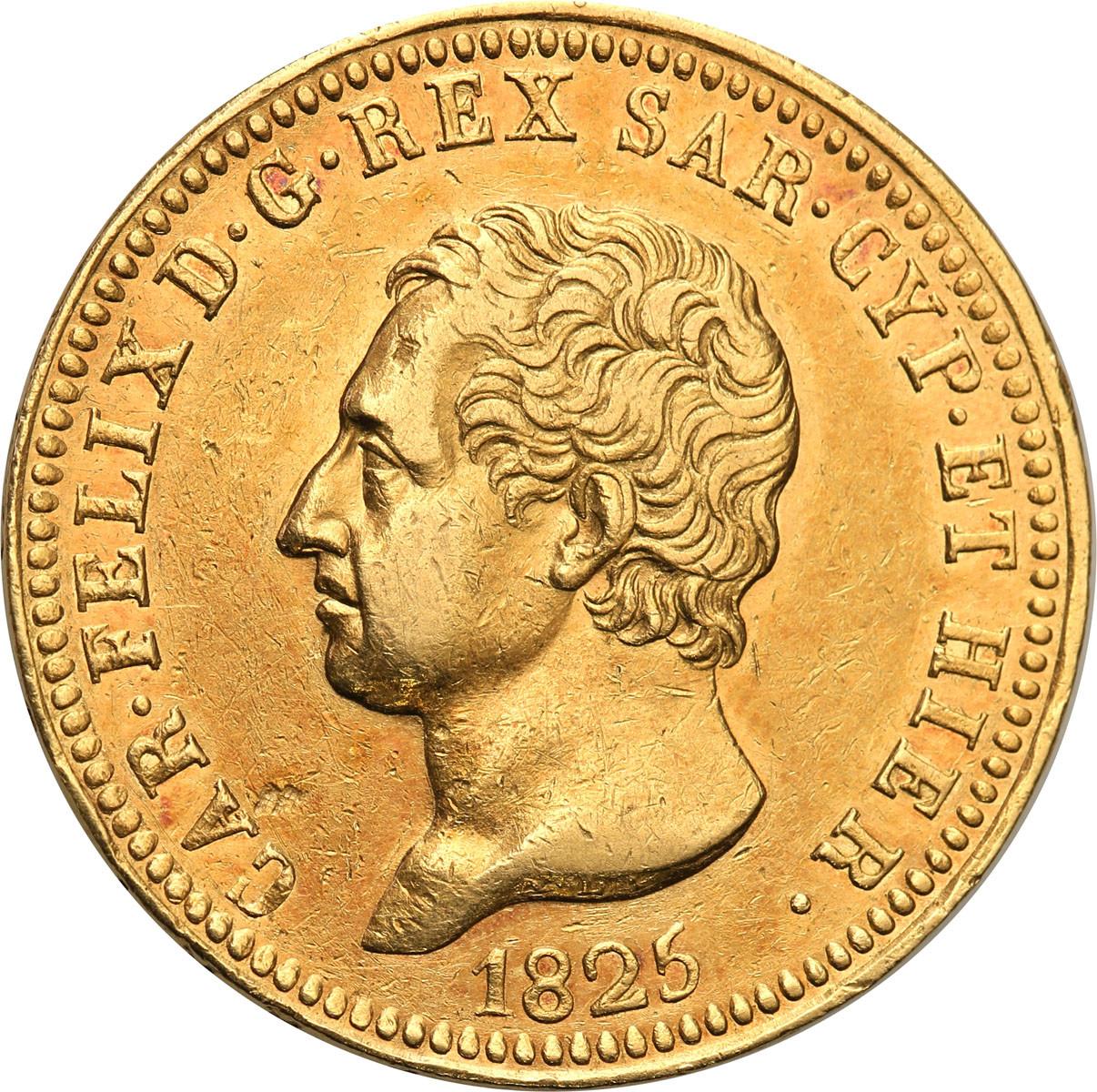 Włochy Sardynia 40 Lire 1825 głowa orła st.2+