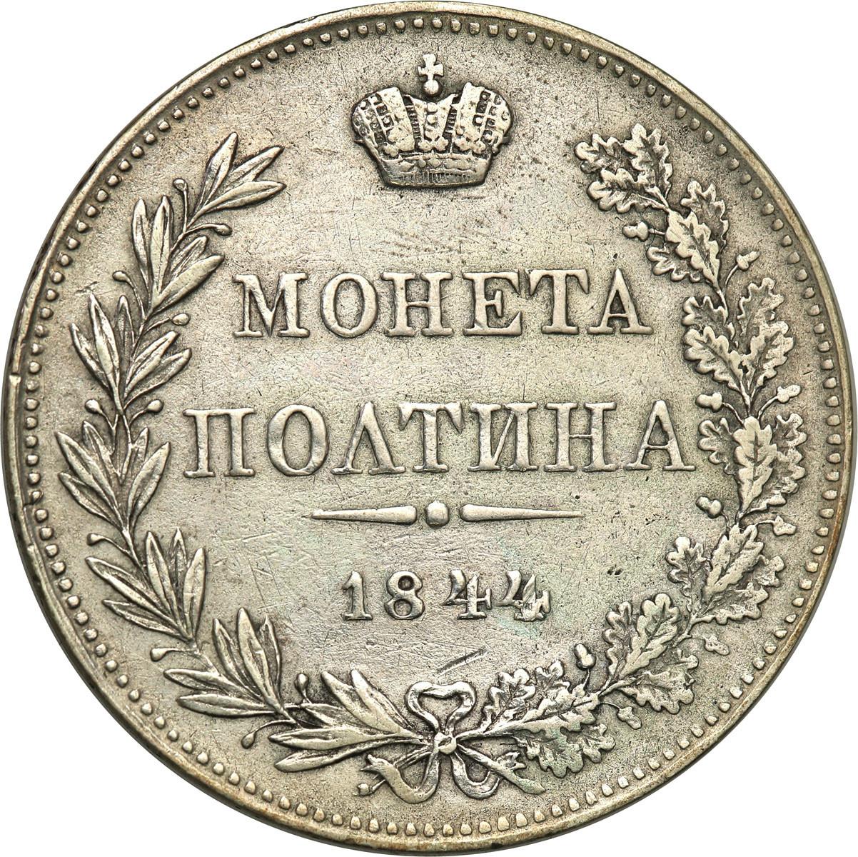 Polska Mikołaj I 1/2 Rubla 1844 MW Bitkin -R1- st.3