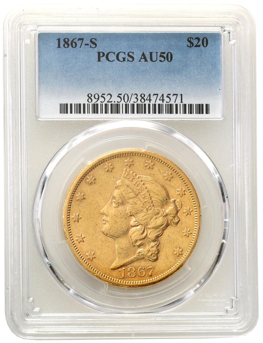 USA. 20 dolarów 1867 S San Francisco PCGS AU50