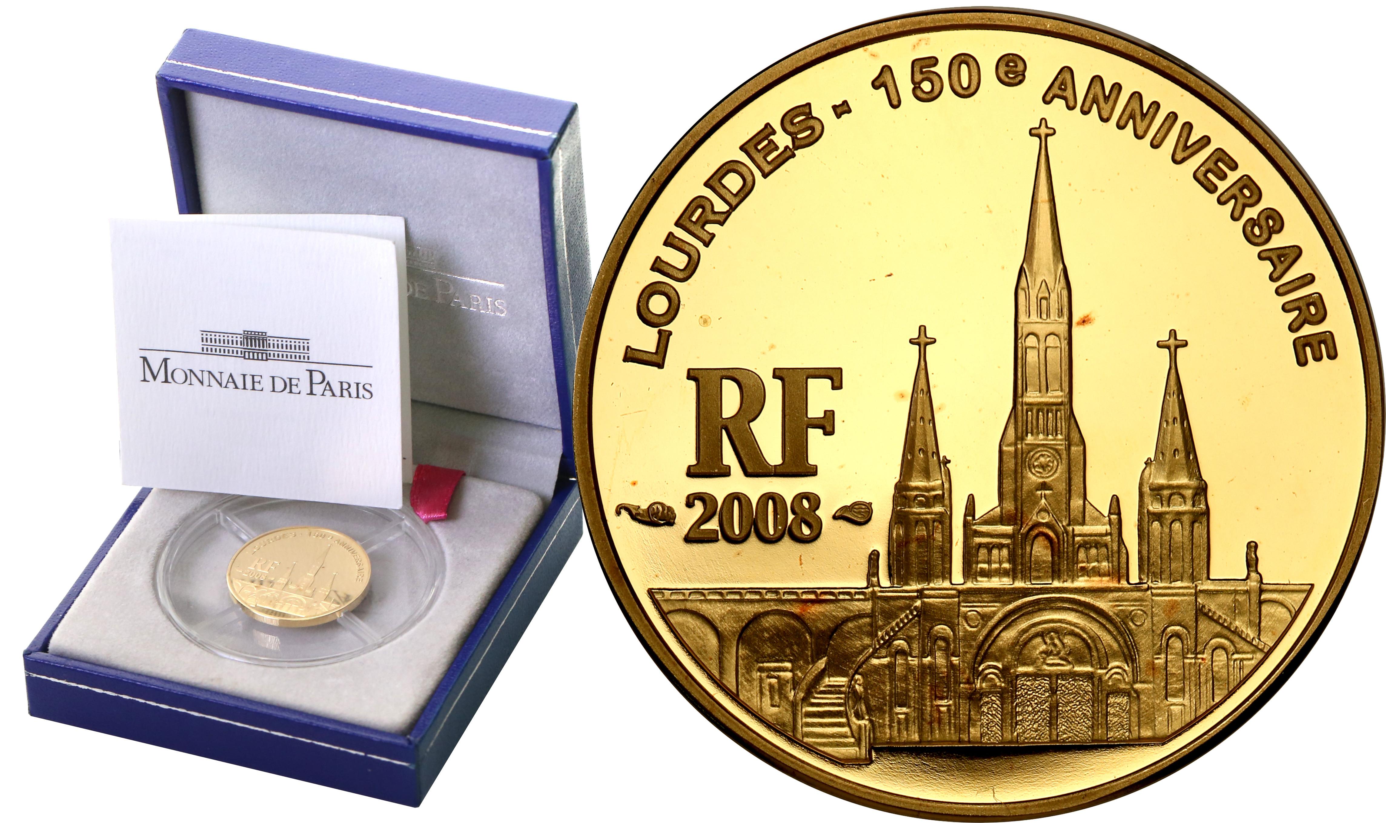 Francja 10 Euro 2008 Lourdes - 1/4 uncji złota st.L
