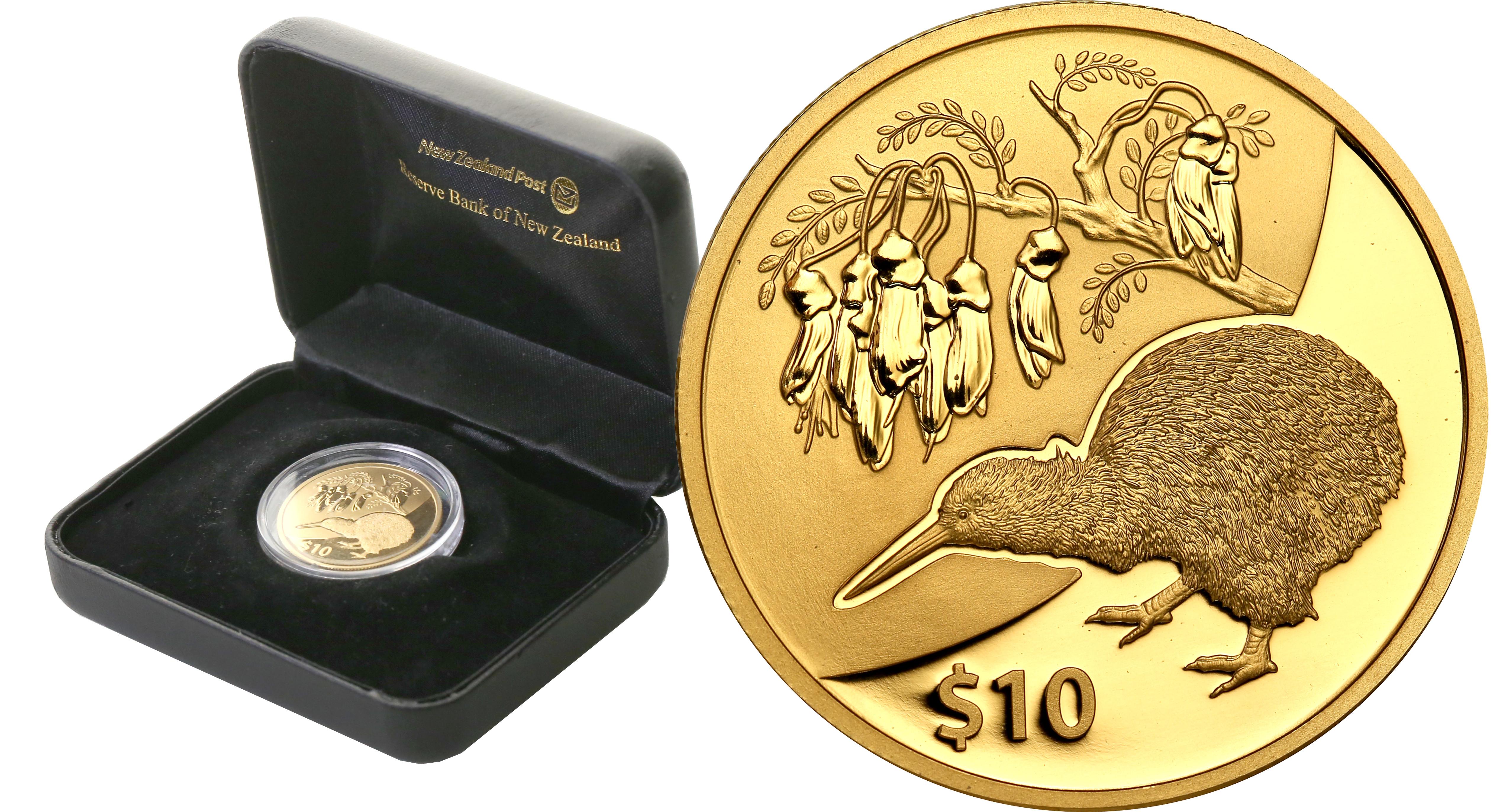 Nowa Zelandia. 10 $ dolarów 2012 Kiwi - 1/4 uncji złota st.L