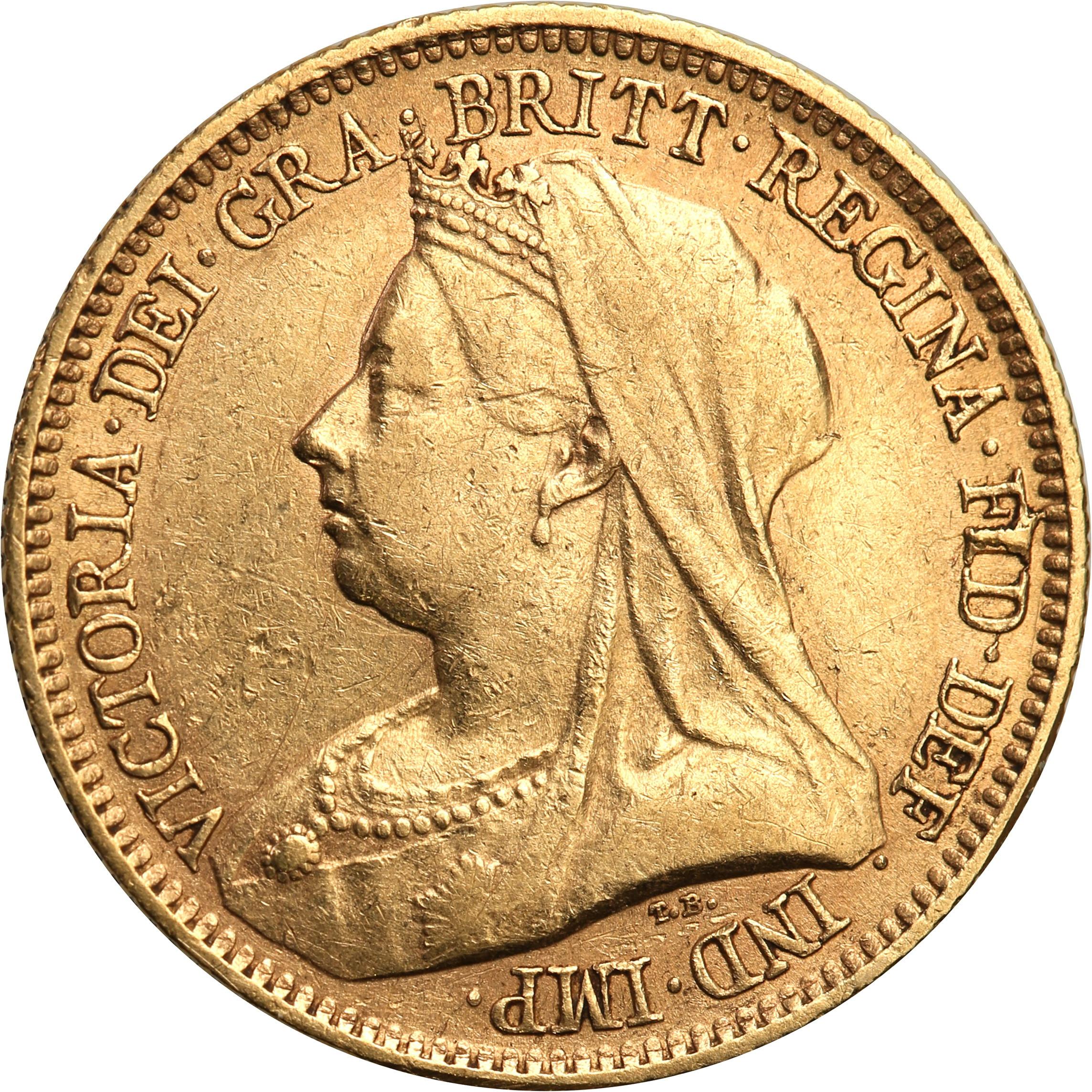 Wielka Brytania 1/2 suwerena 1893 Victoria st. 3+