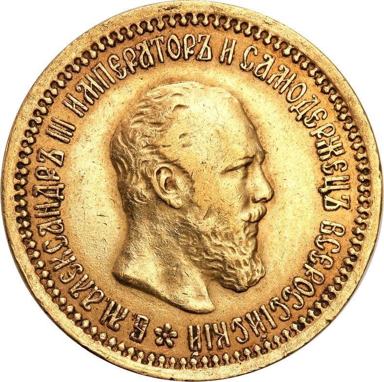 Rosja. Aleksander III. 5 rubli 1889 (АГ), Petersburg st. 2/2-