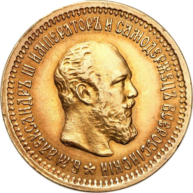 Rosja. Aleksander III. 5 rubli 1889 (АГ), Petersburg st.1-/2+