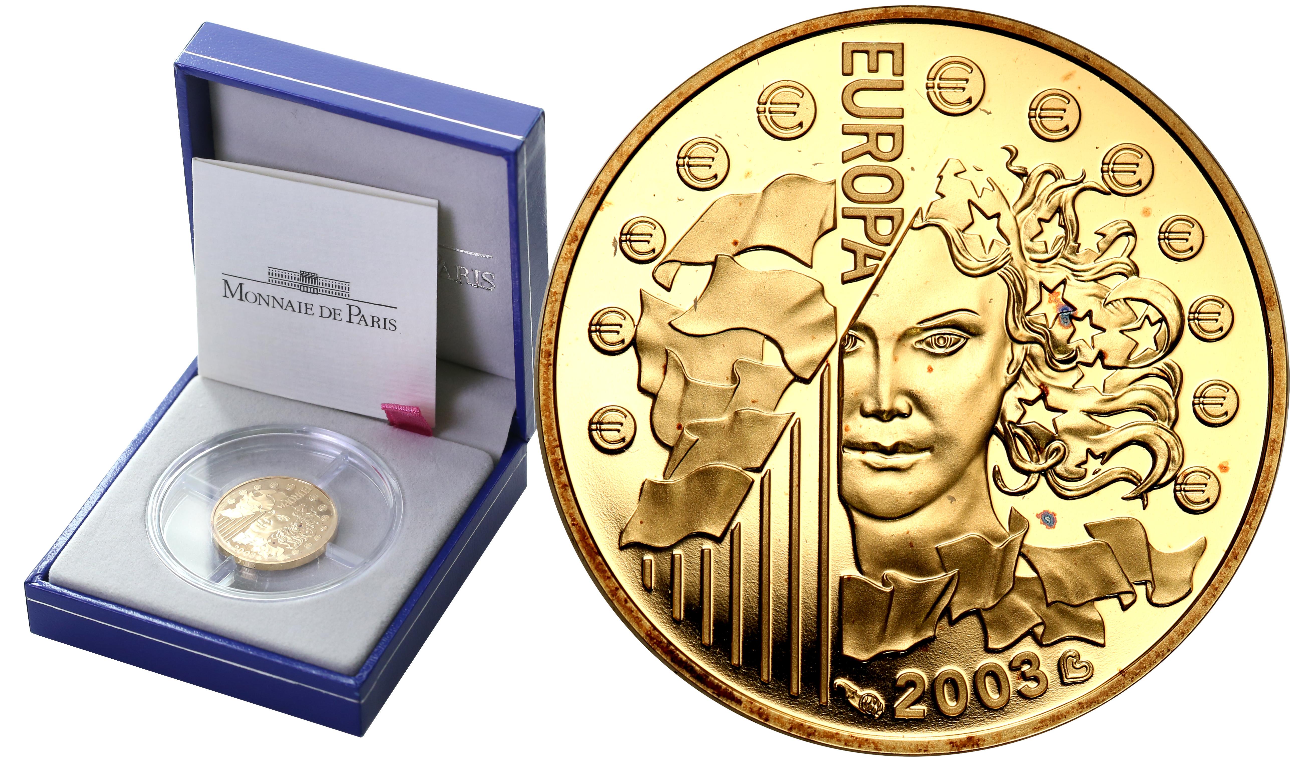 Francja. 10 Euro 2003 Europa – ¼ uncji złota st.L