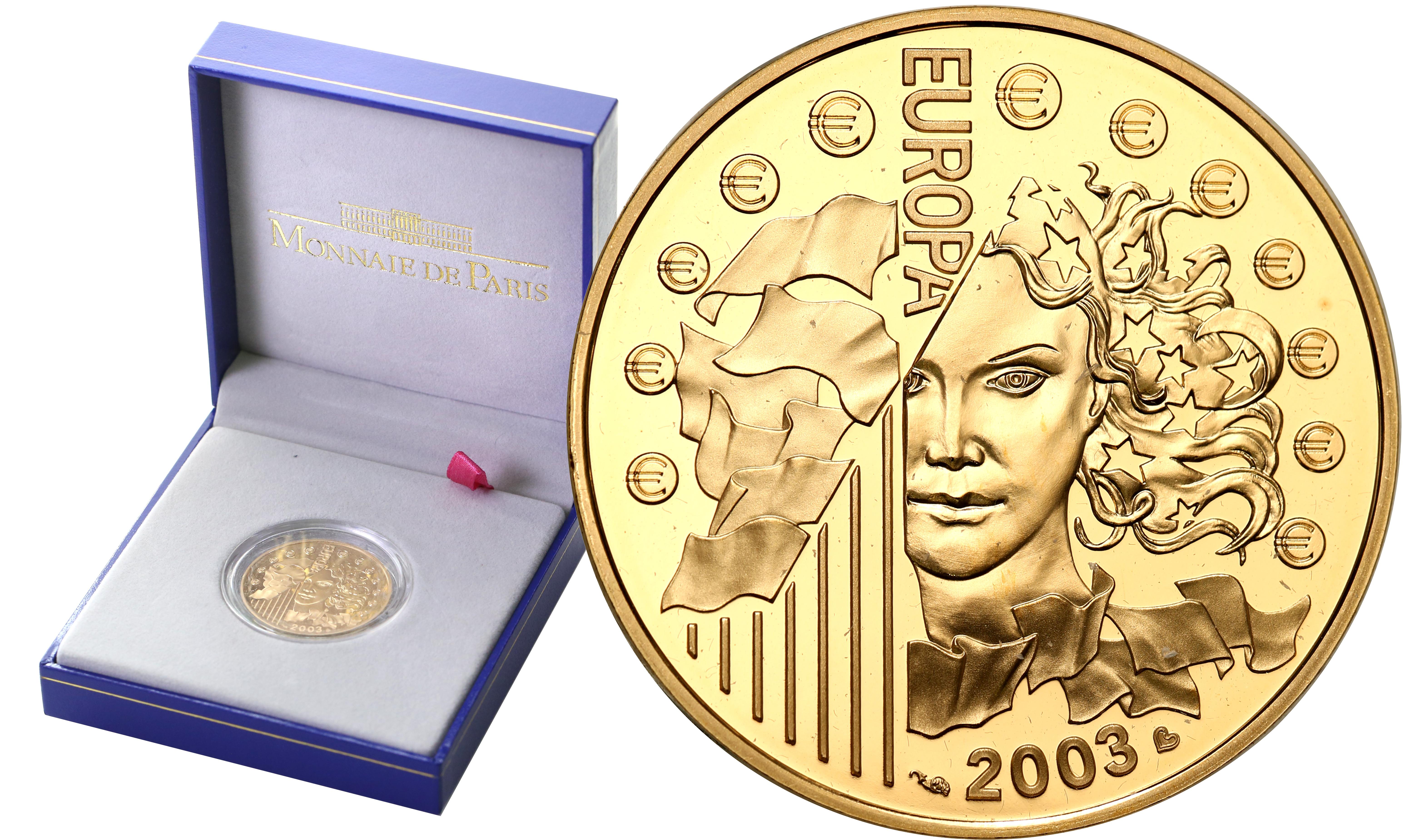 Francja. 20 Euro 2003 Europa - ½ uncji złota st.L