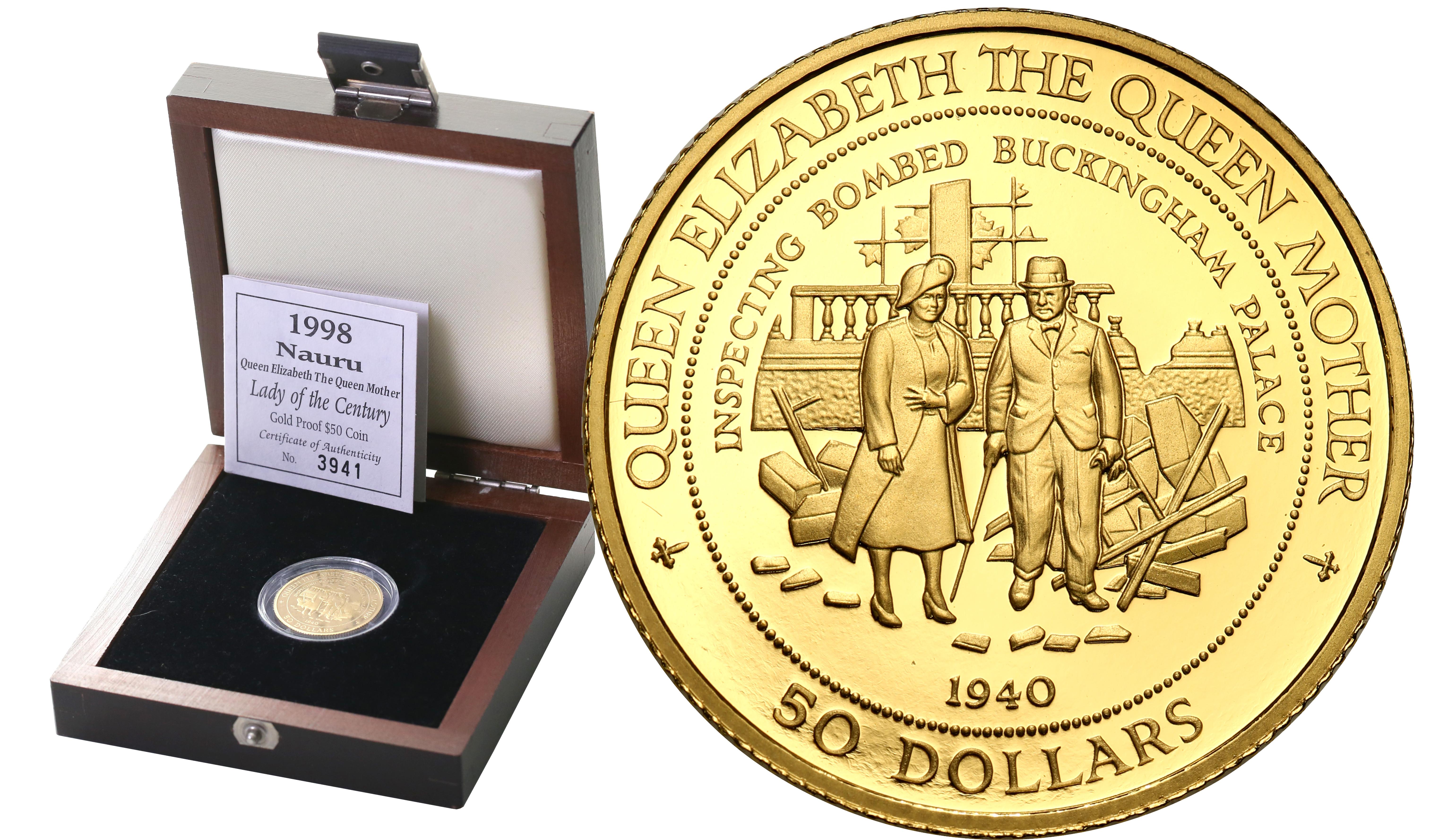 Nauru. 50 dolarów Elżbieta II 1940 - RZADKIE st.L