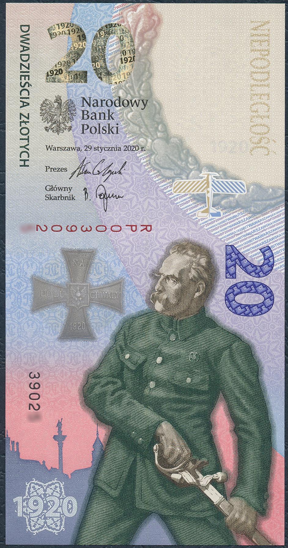 Banknot 20 złotych 2020 - Bitwa Warszawska 1920 Piłsudski st.UNC