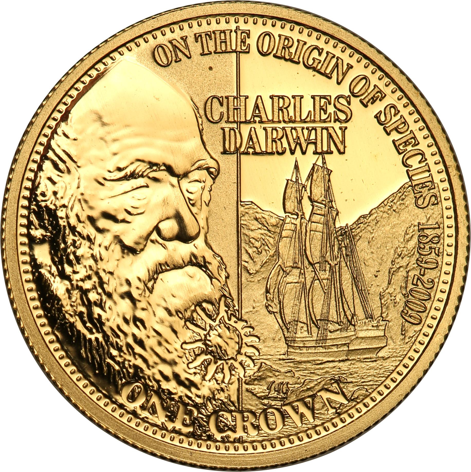 Tristan da Cunha. 1 korona 2009 Charles Darwin st.L