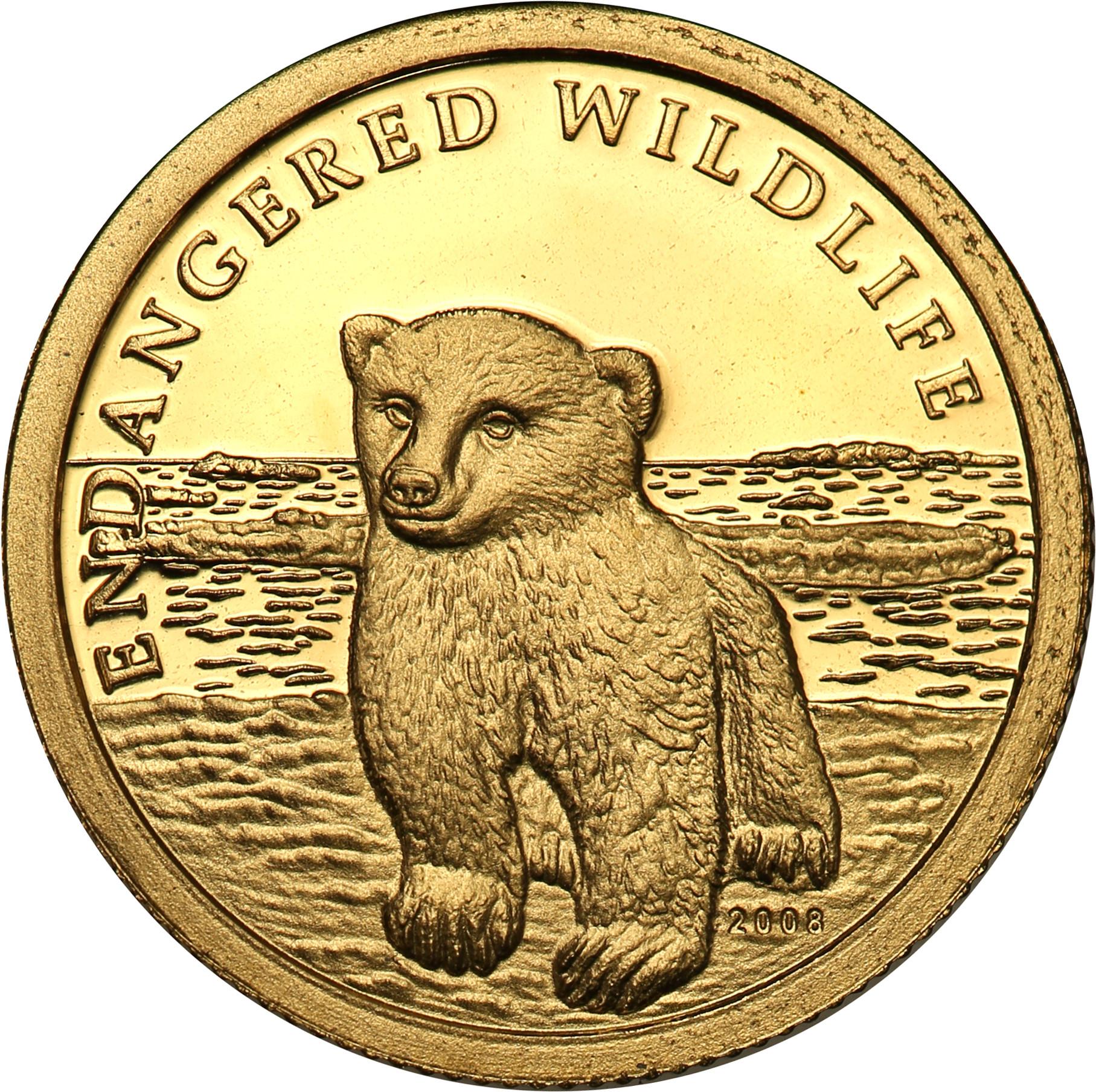Wyspy Cooka. 10 dolarów 2008 Mały Niedźwiedź Polarny st.L