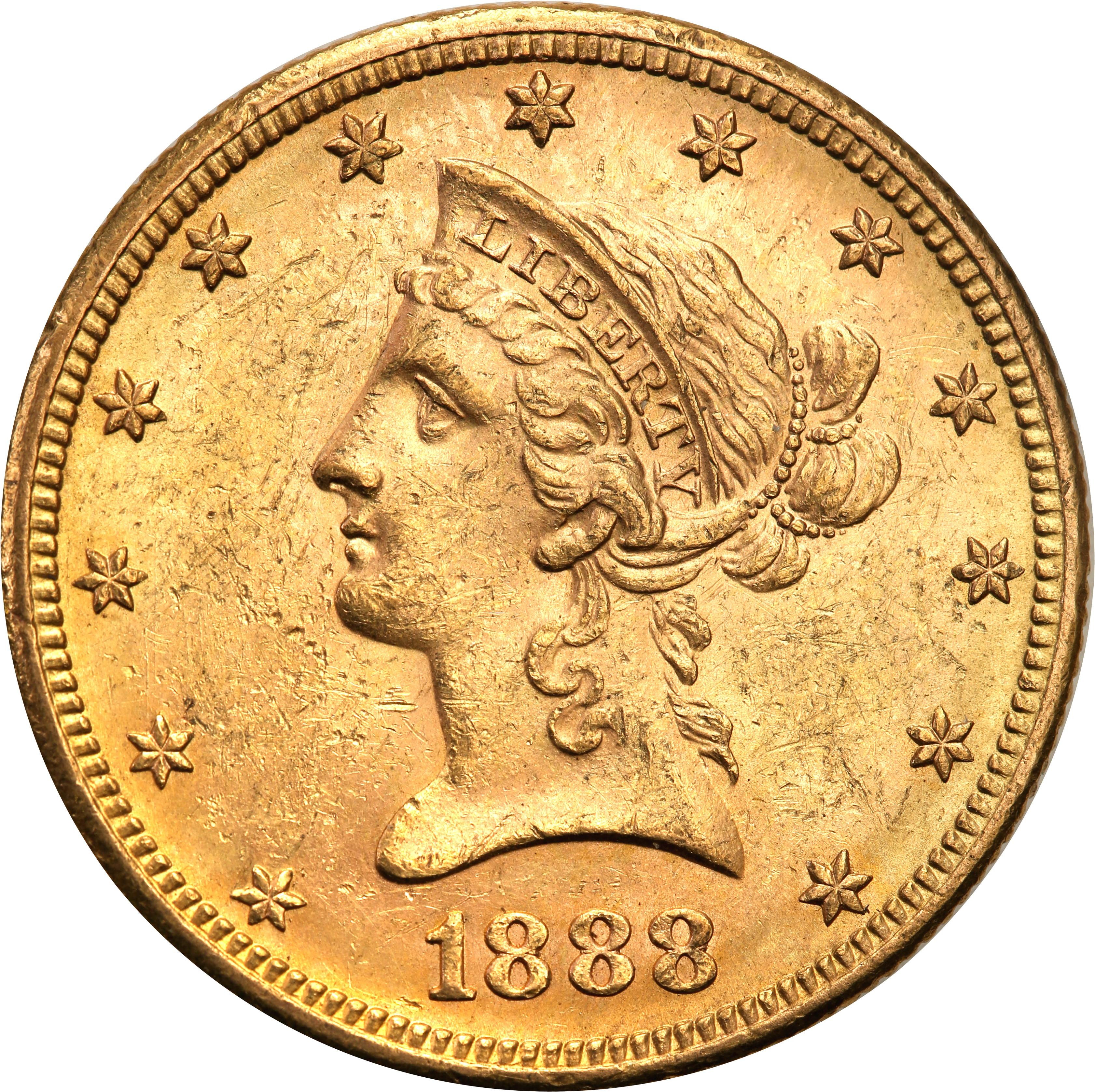 USA. 10 $ dolarów Liberty 1888 S – San Francisco st.1-