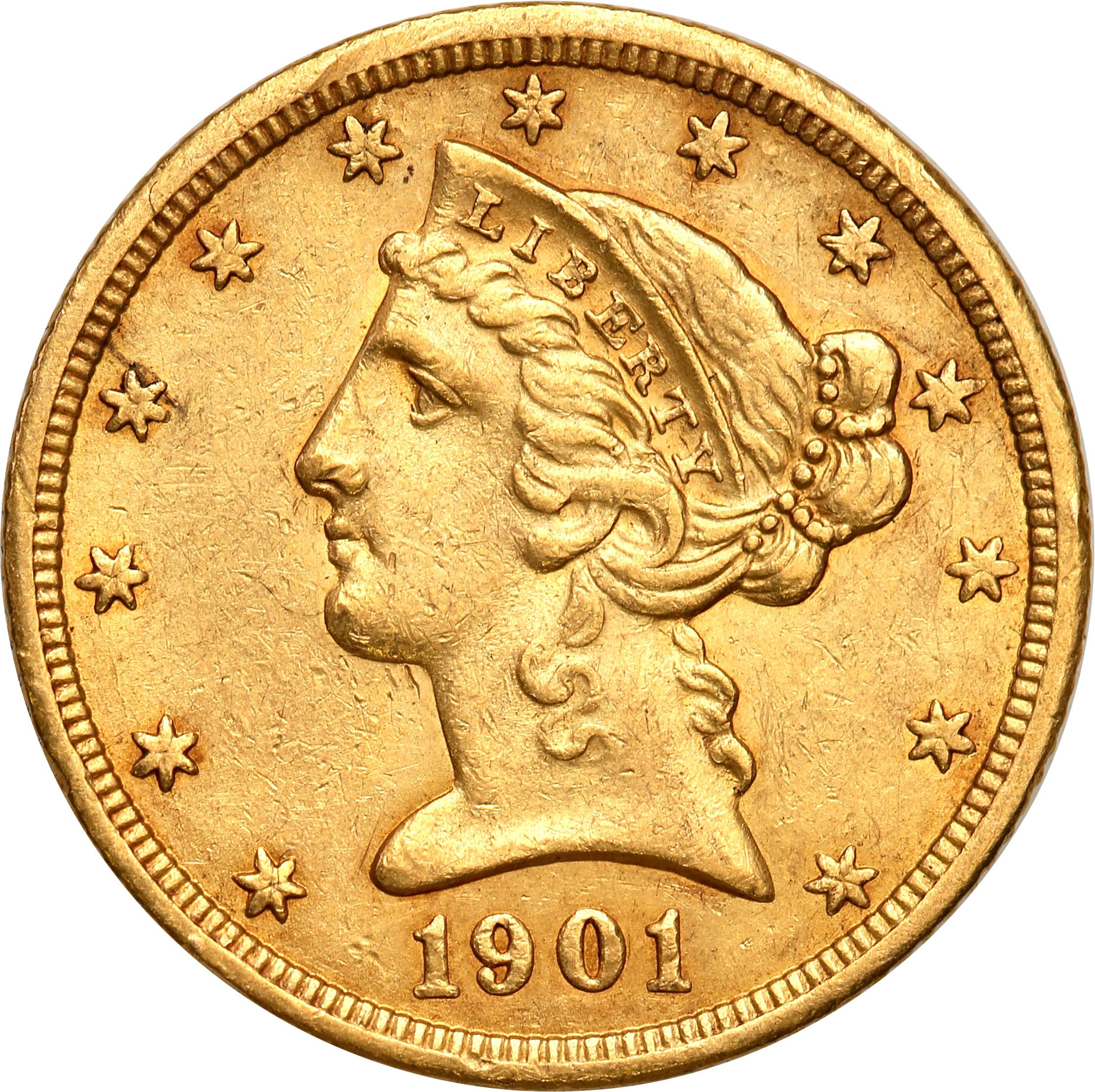 USA 5 dolarów Liberty 1901 S San Francisco st.2