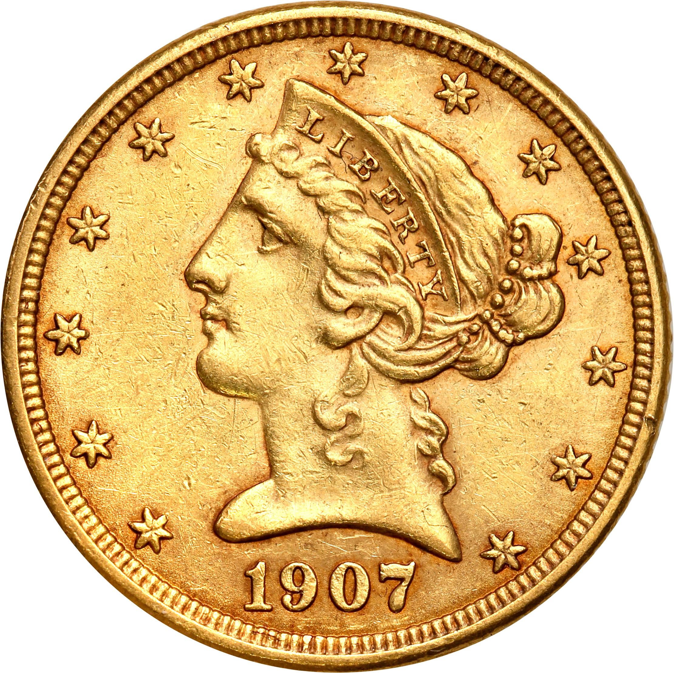 USA 5 dolarów Liberty 1907 D Denver st. 1-/2+