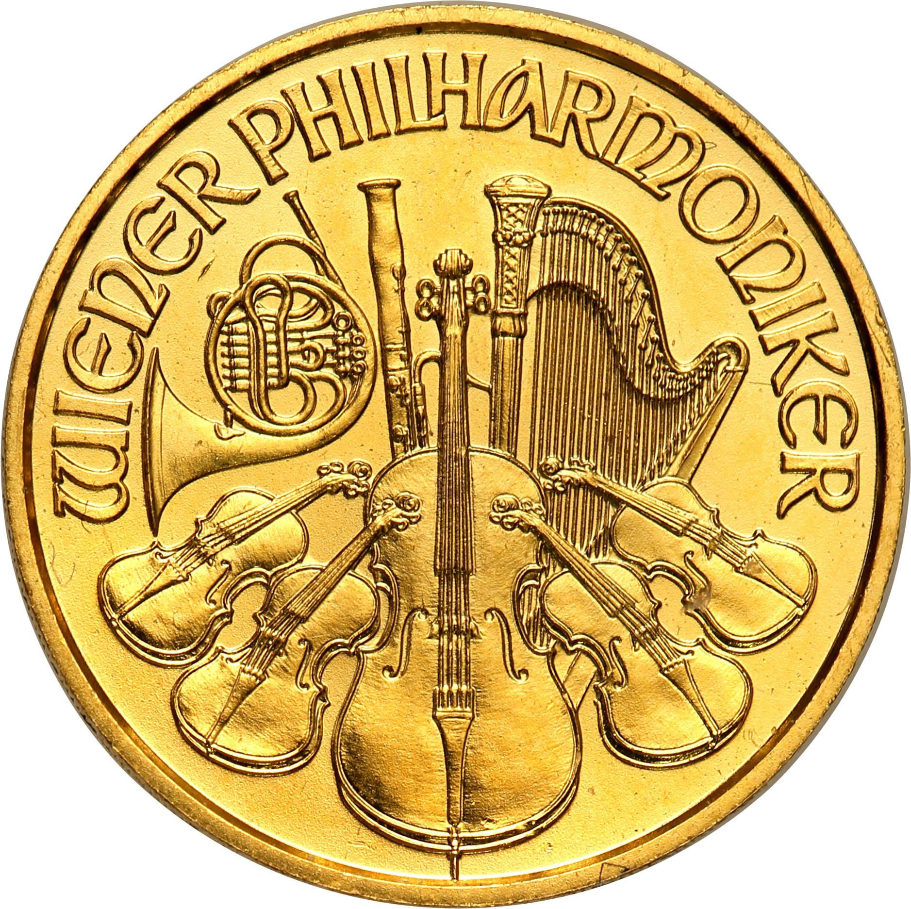 Austria. 10 euro 2020 Filharmonicy (1/10 uncji złota) st.1