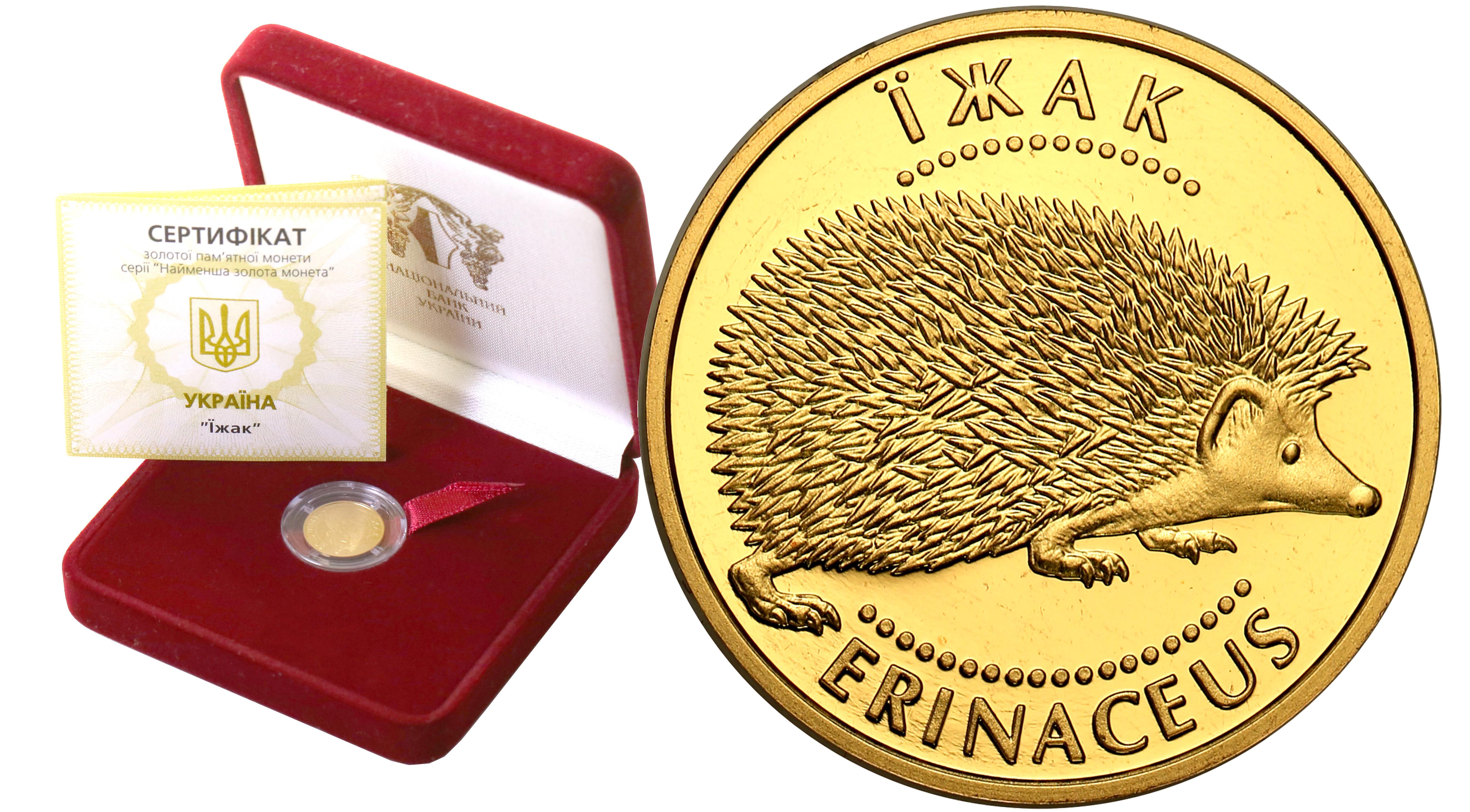 Ukraina 2 hrywny 2006 Jeż 1/25 uncji czystego złota st. L