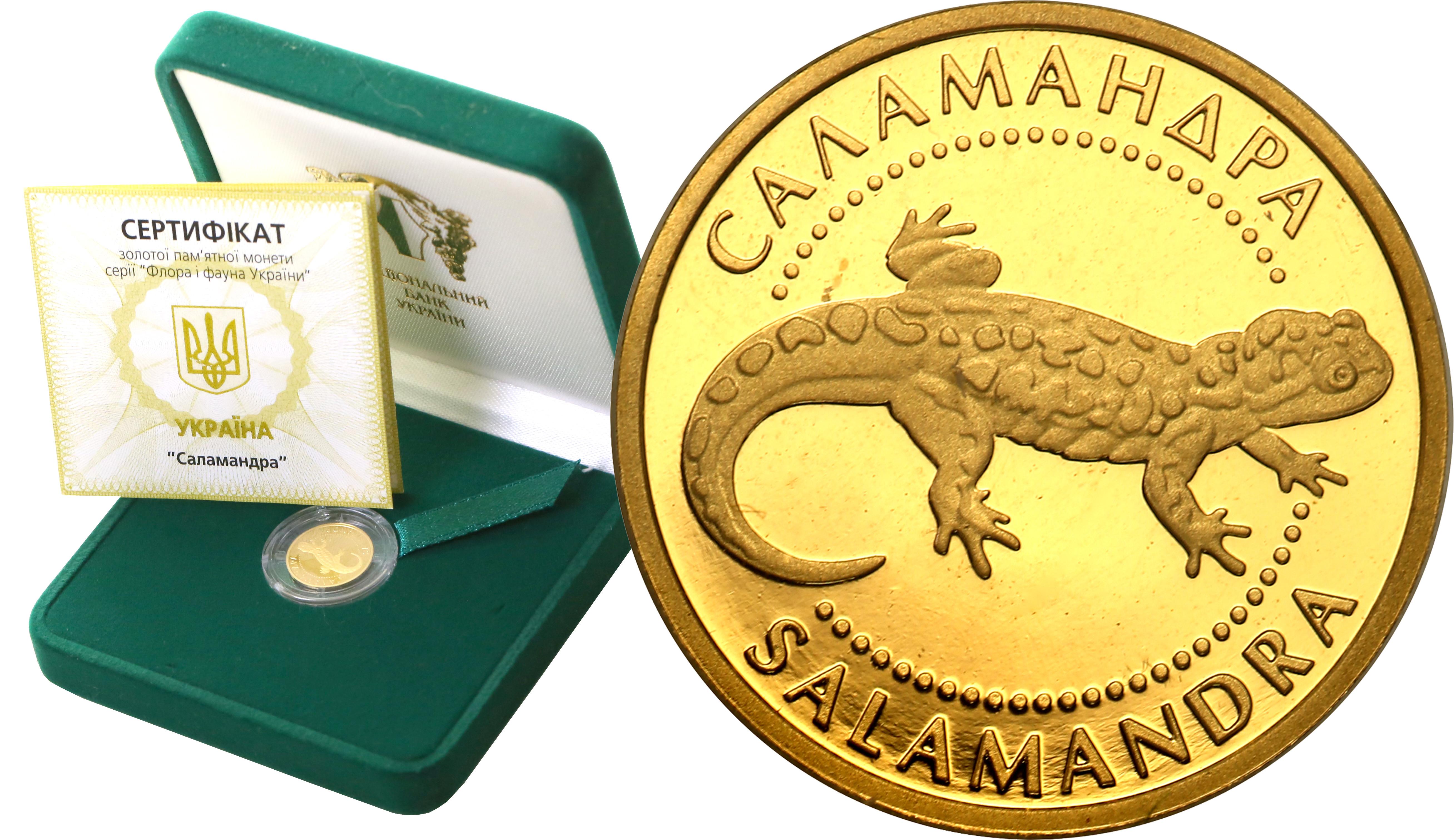 Ukraina 2 hrywny 2003 Salamandra 1/25 uncji czystego złota st. L