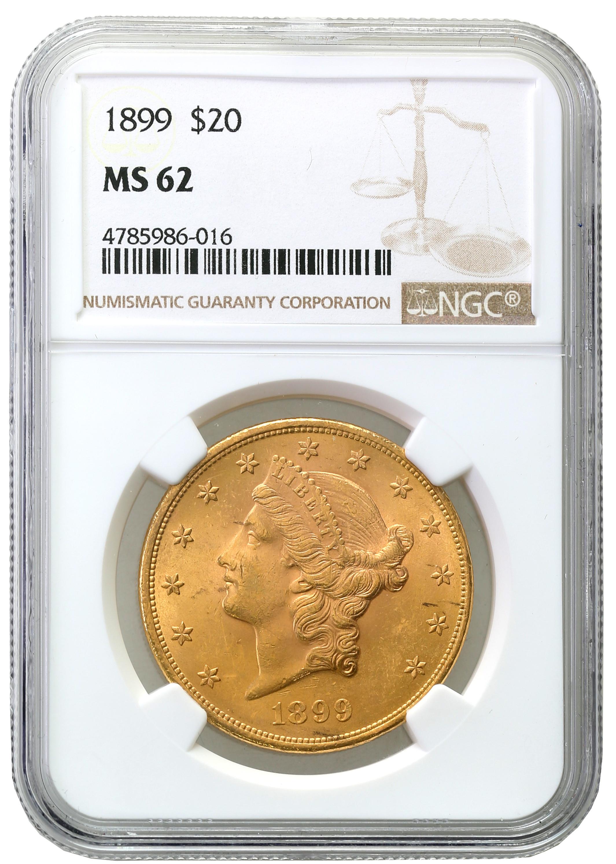 USA. 20 dolarów Liberty 1899 Filadelfia NGC MS62