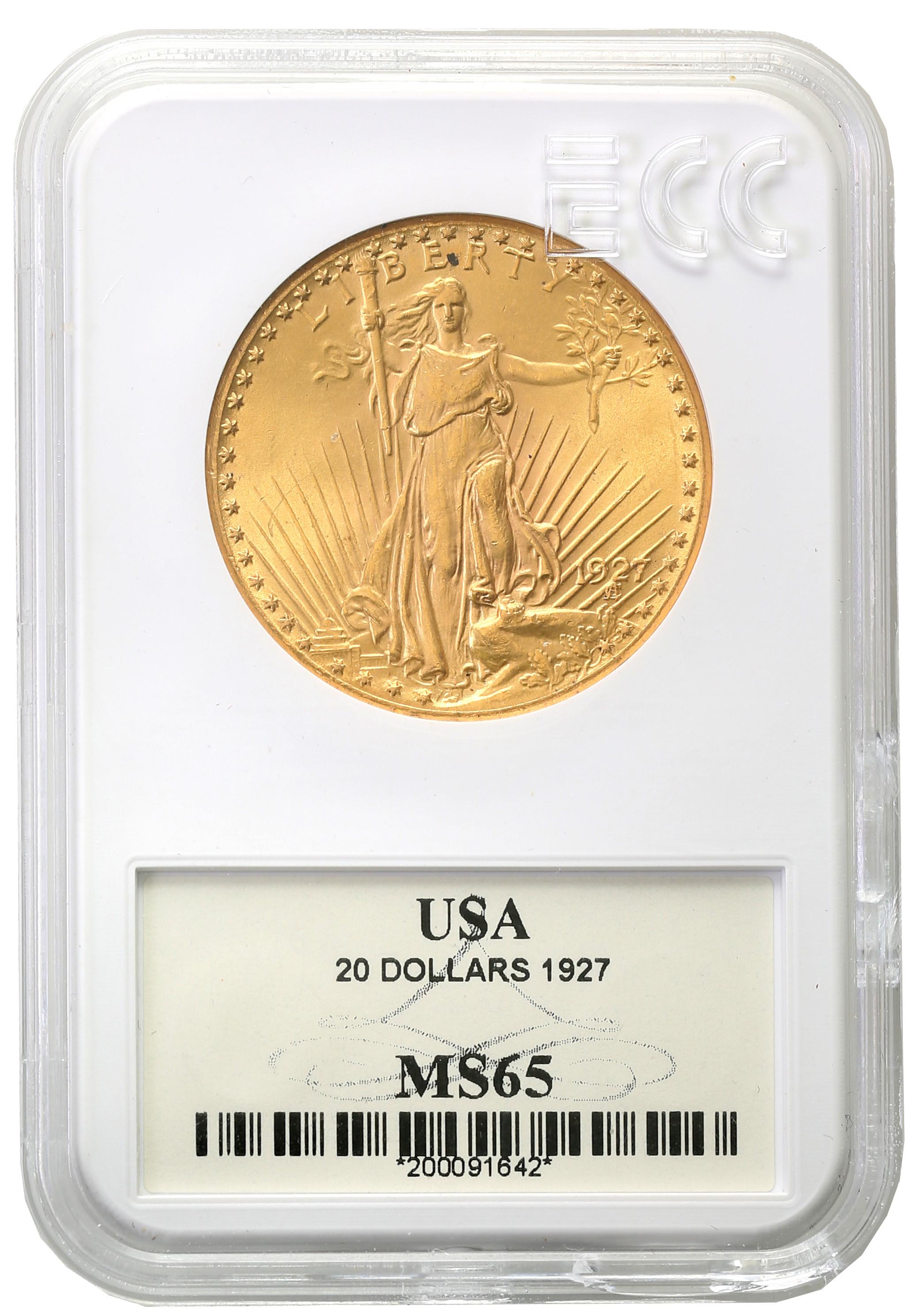 USA. 20 dolarów Saint Gaudens 1927 GCN MS65