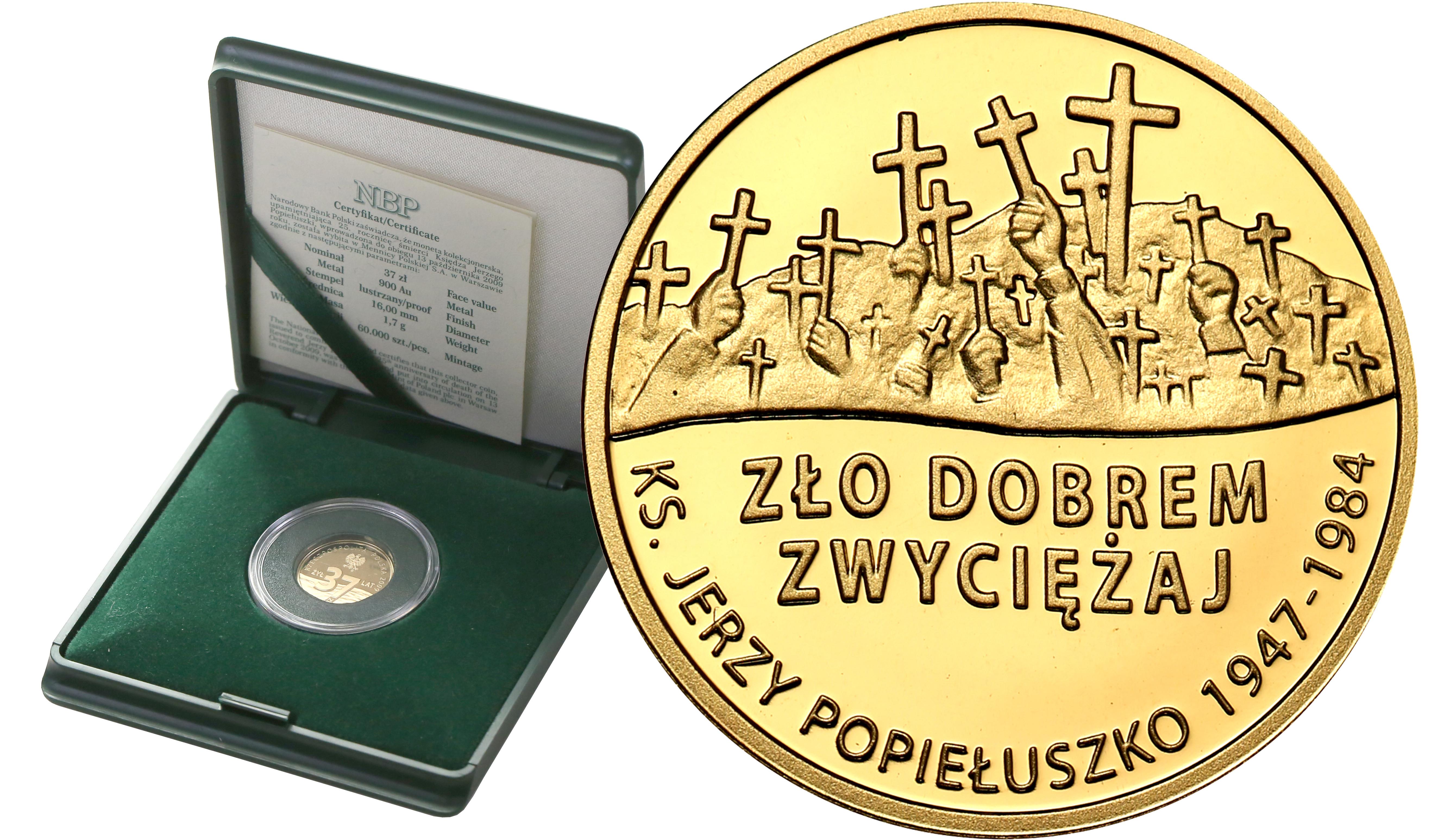 Polska. 37 złotych 2009 ks. Jerzy Popiełuszko - ZŁOTO