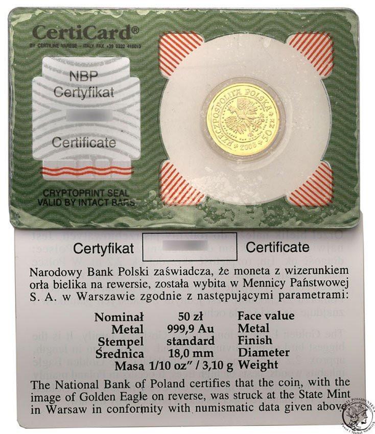 Polska. 50 złotych 2006 Orzeł Bielik – 1/10 UNCJI ZŁOTA st.1