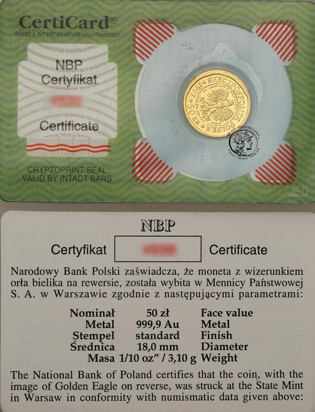 Polska. 50 złotych 1997 Orzeł Bielik – 1/10 UNCJI ZŁOTA st.1