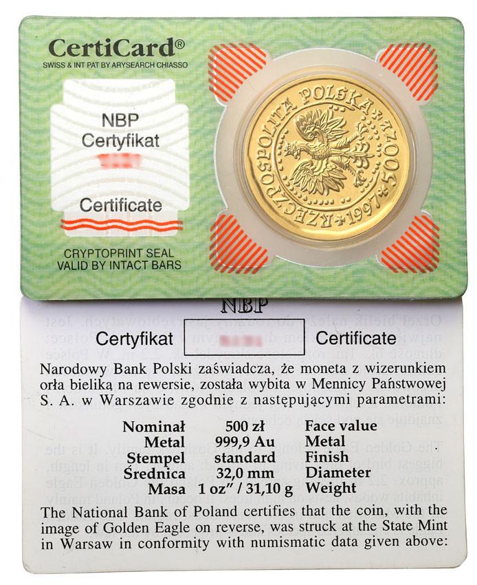 Polska. 500 złotych 1997 Orzeł Bielik – UNCJA ZŁOTA st.1