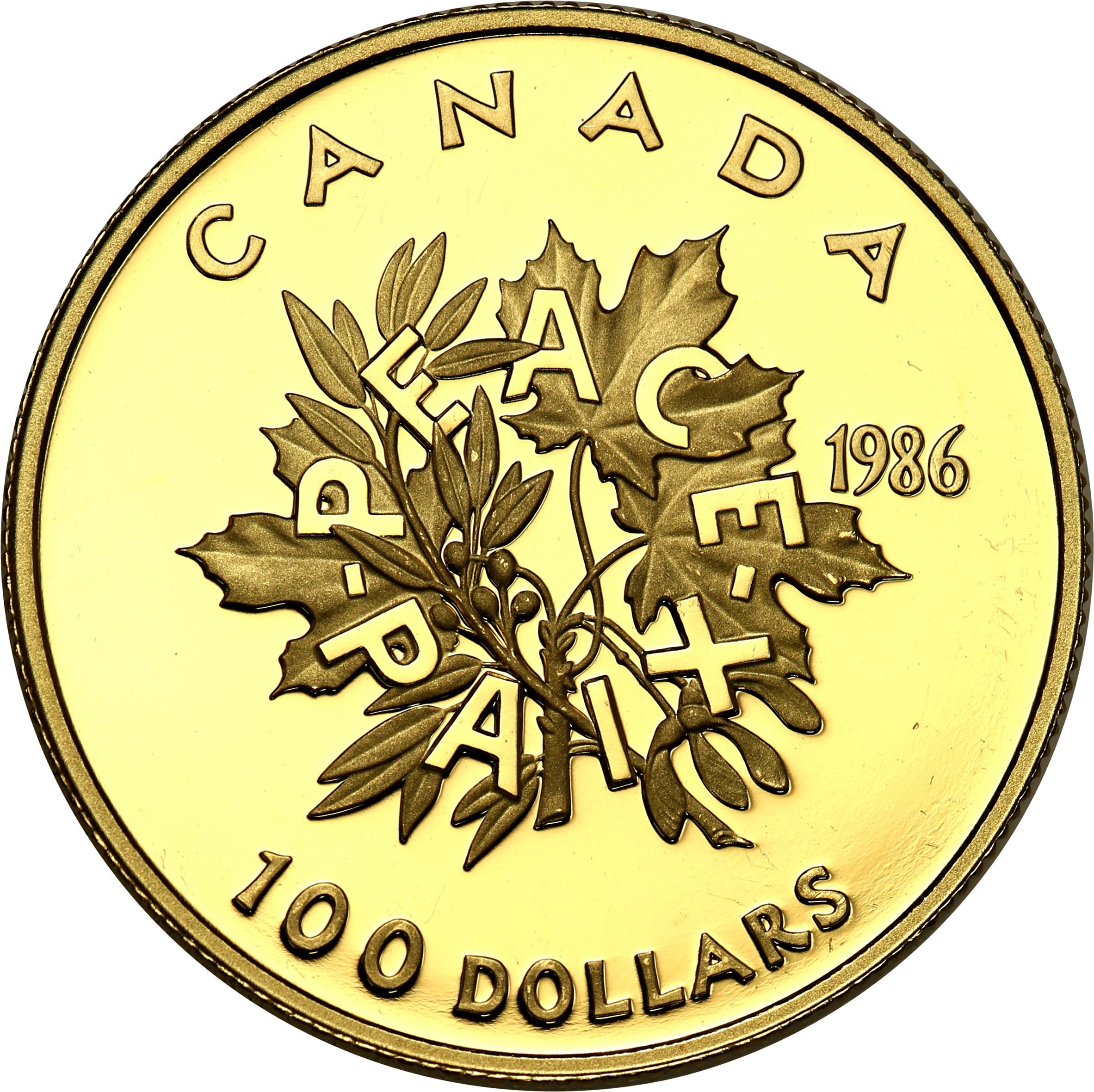 Kanada. Elżbieta II 100 dolarów 1986 - 1/2 uncji złota st.L