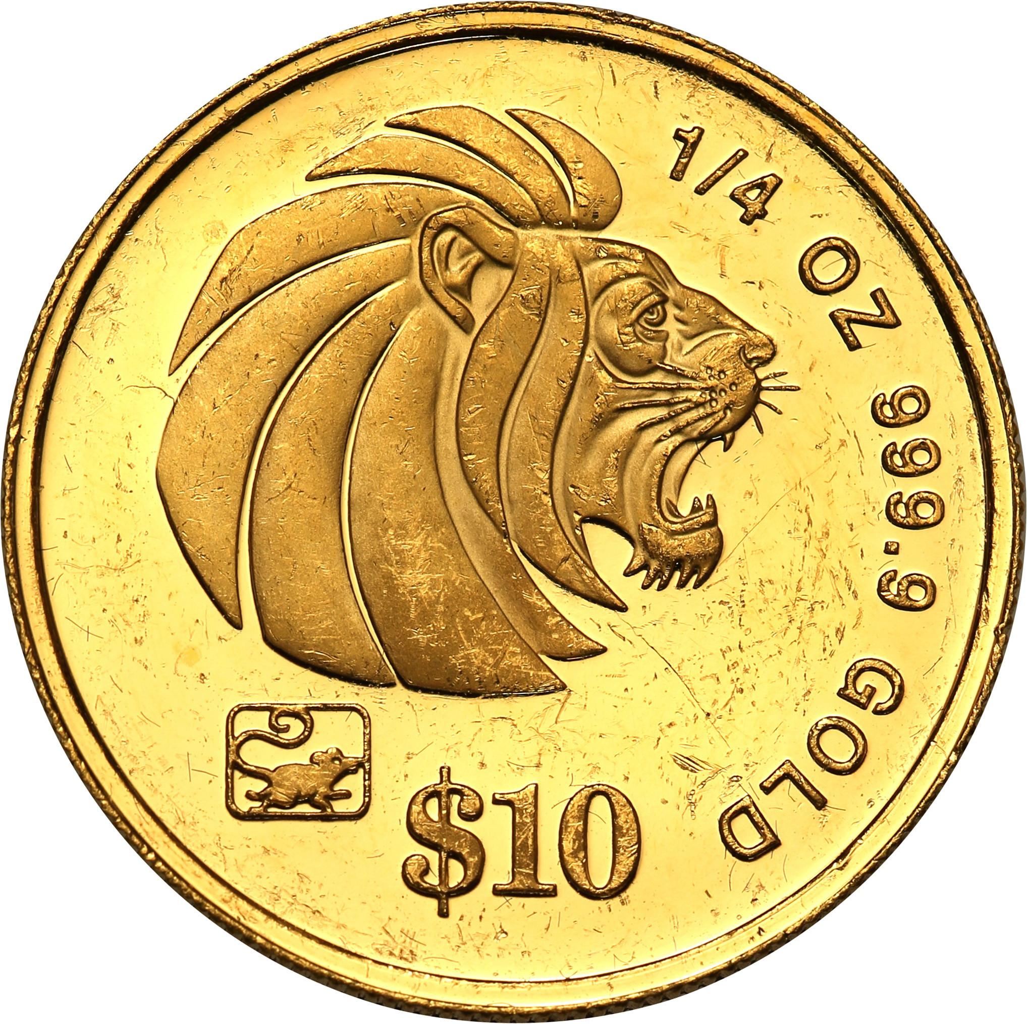 Singapur 10 dolarów 1996 st. L – 1/4 uncji złota