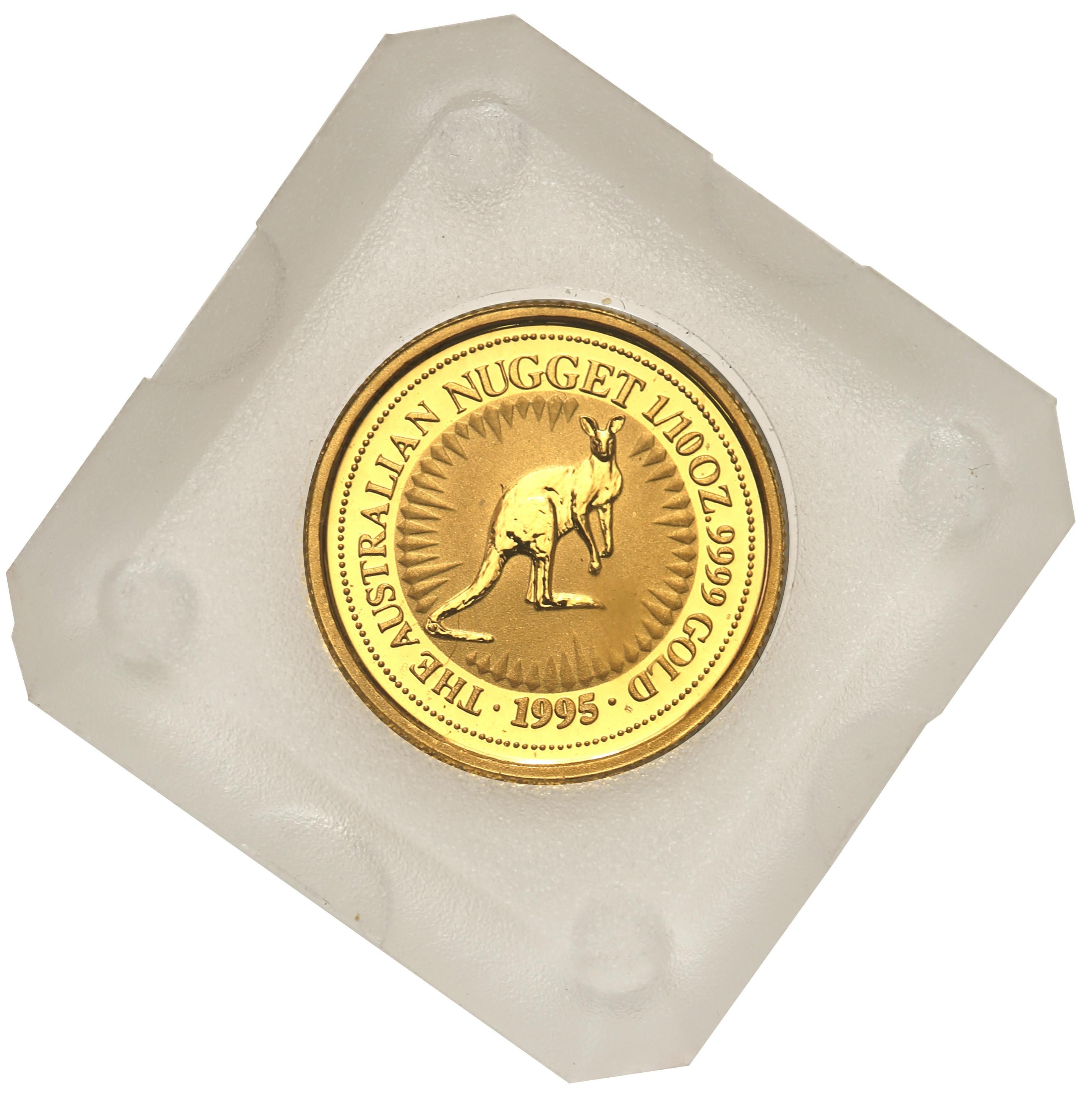 Australia. Elżbieta II 15 Dolarów 1995 kangur st.L – 1/10 uncji złota