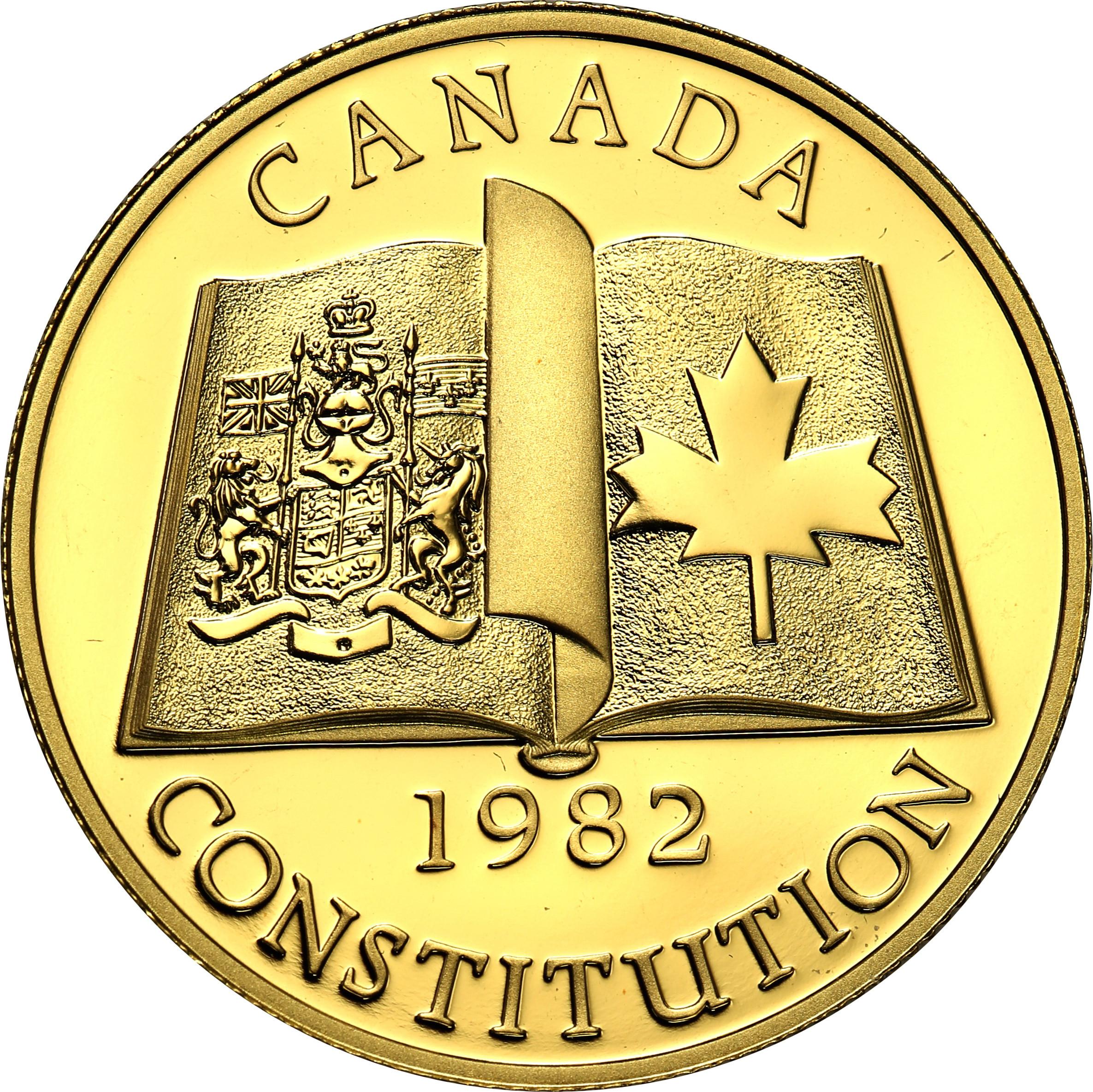 Kanada. 100 dolarów 1982 konstytucja st. L  - ½ uncji złota