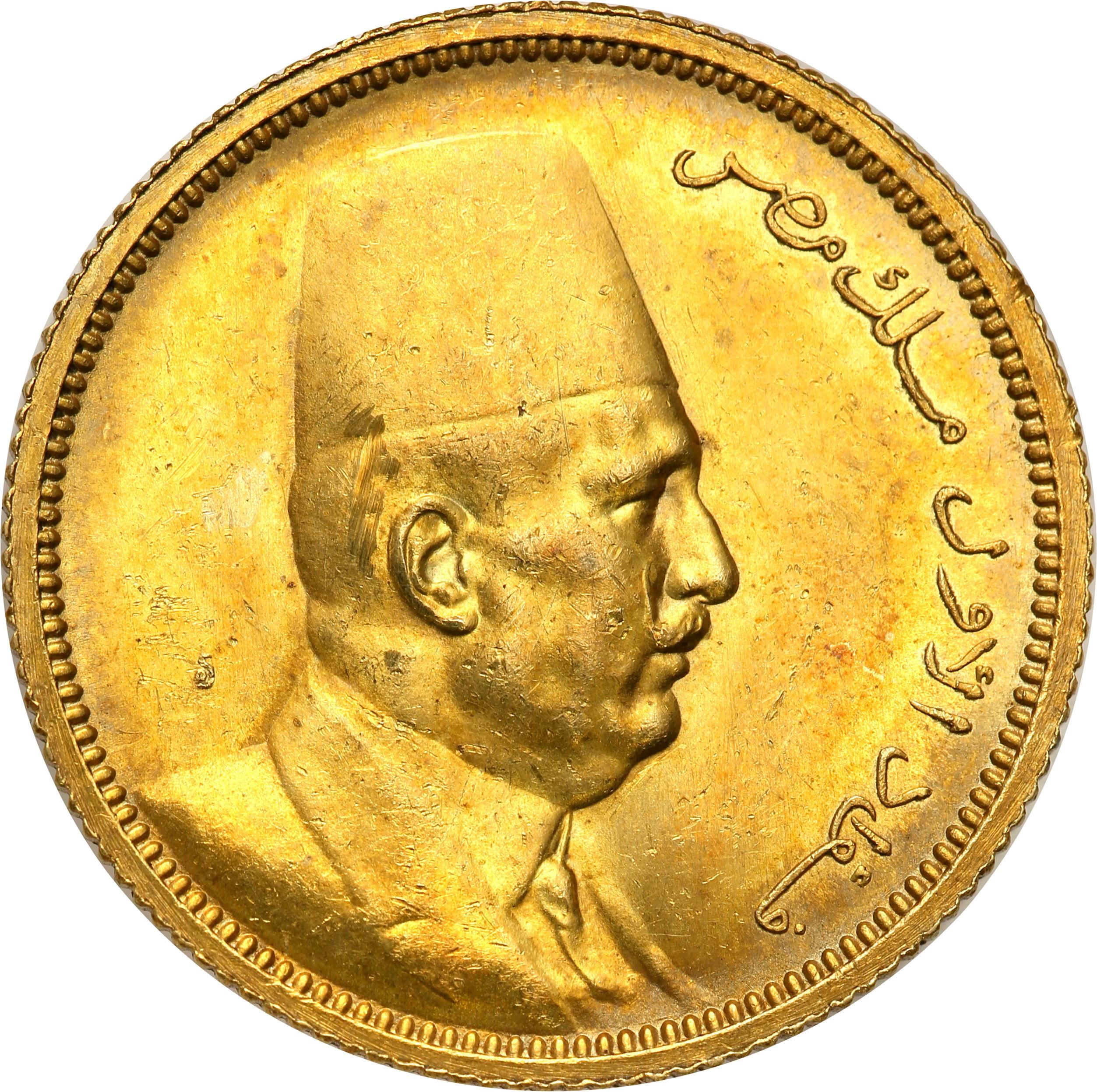 Egipt. 100 Piastrów 1922 Yellow gold st.1
