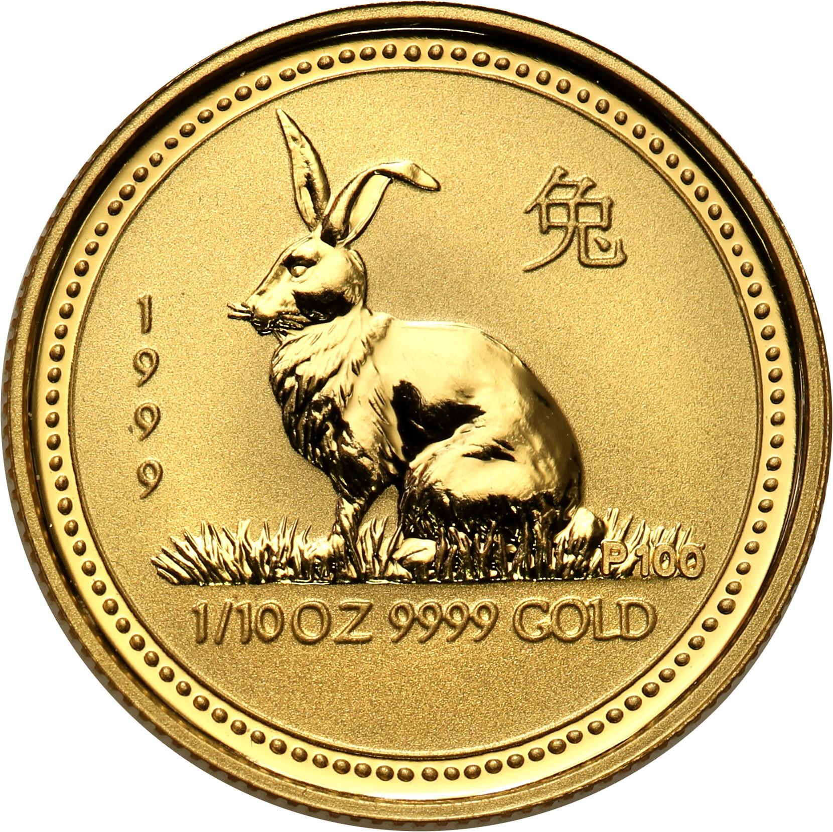 Australia. Elżbieta II 15 Dolarów 1999 Królik st.L – 1/10 uncji złota