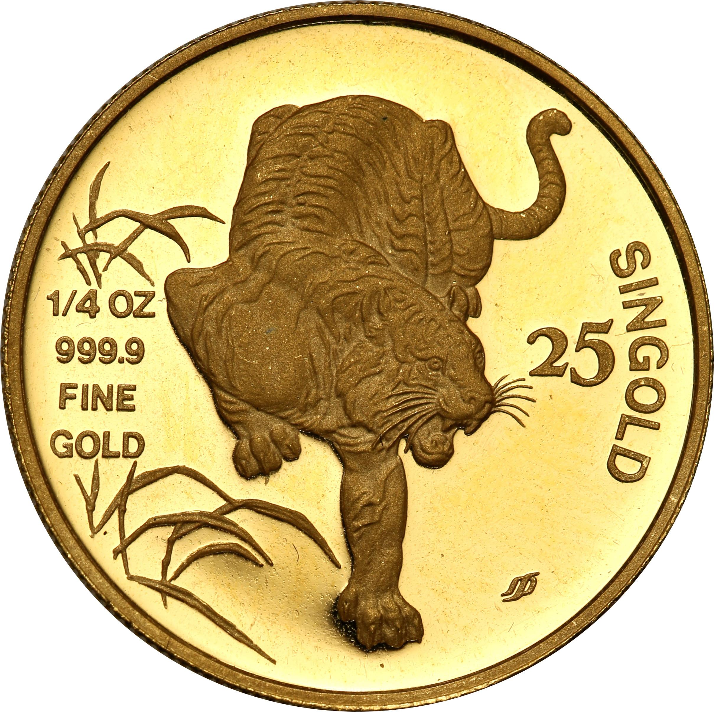 Singapur. 25 Singold 1986  Rok Tygrysa st.L – ¼ uncji złota