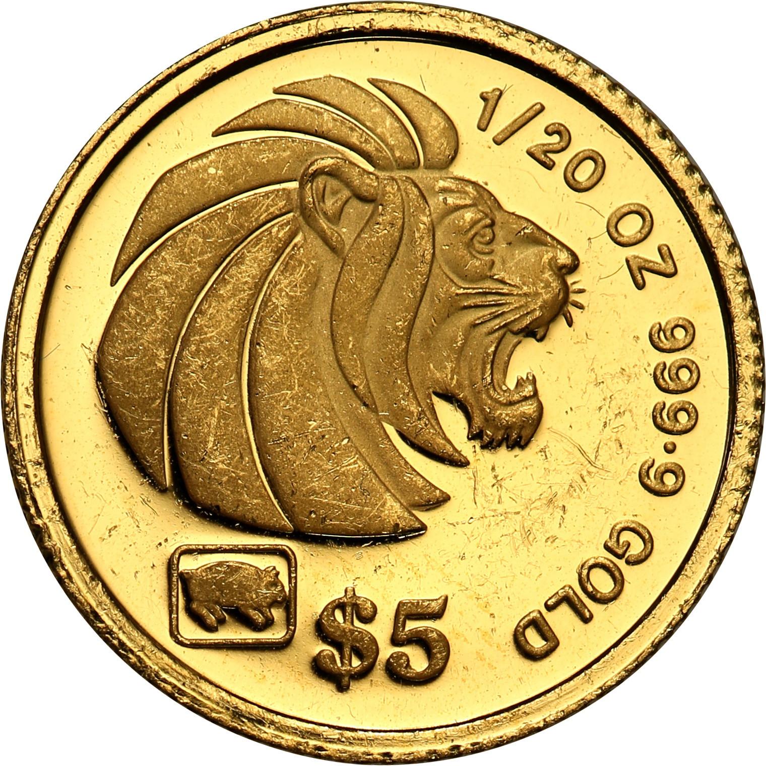 Singapur 5 dolarów 1995 st. L – 1/20 Uncji złota