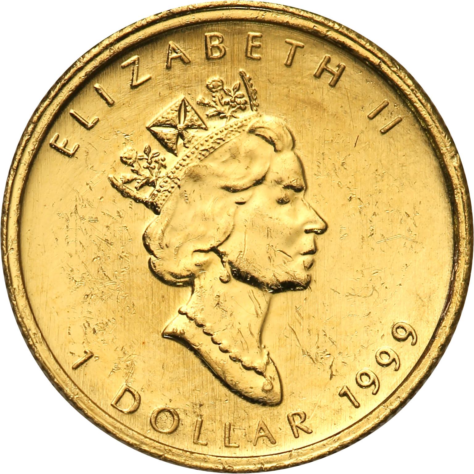 Kanada. 1 dolar 1999 Liść Klonowy st. 1 – 1/20 uncji złota