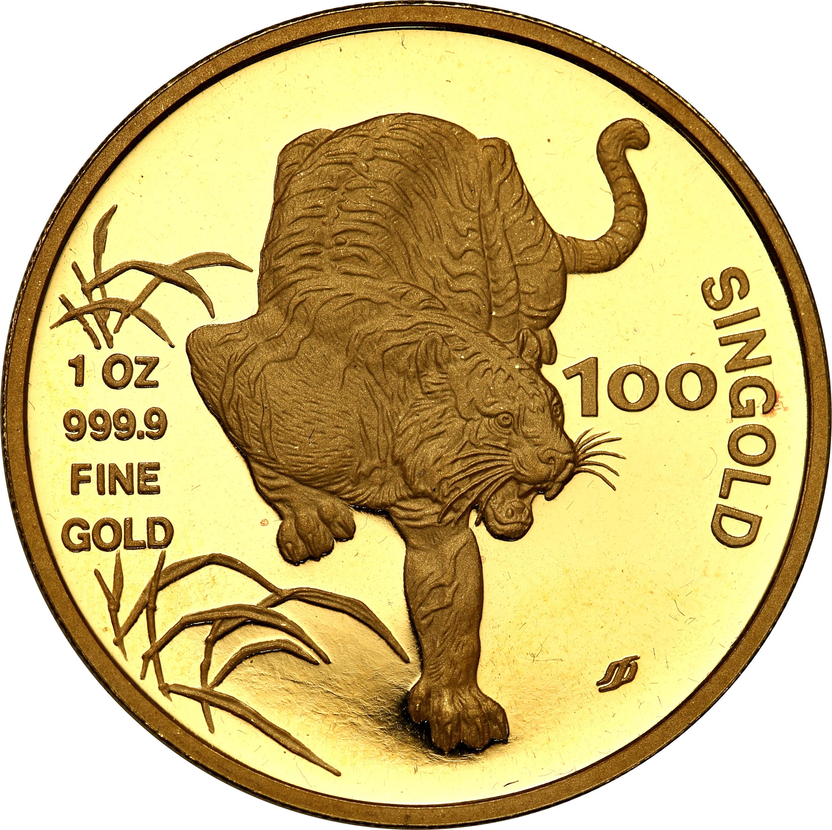 Singapur. 100 Singold 1986  Rok Tygrysa st.L – 1 uncja złota
