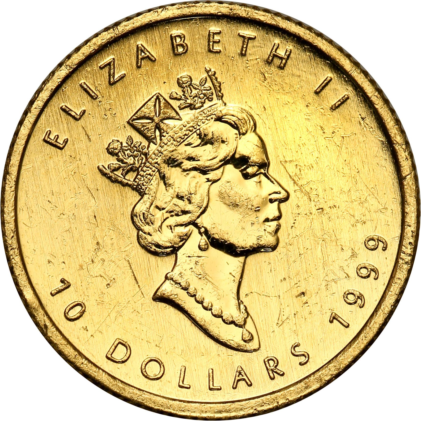 Kanada. 10 dolarów 1999 Liść Klonowy st. 1 – 1/4 uncji złota