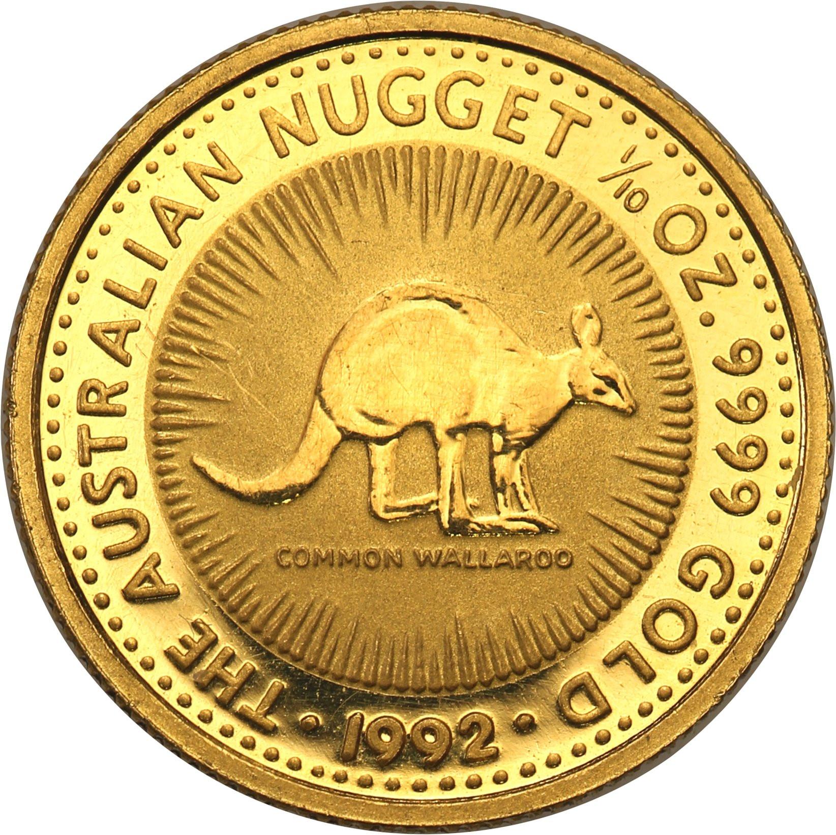Australia 15 dolarów 1992 (1/10 uncji złota) kangur st.L