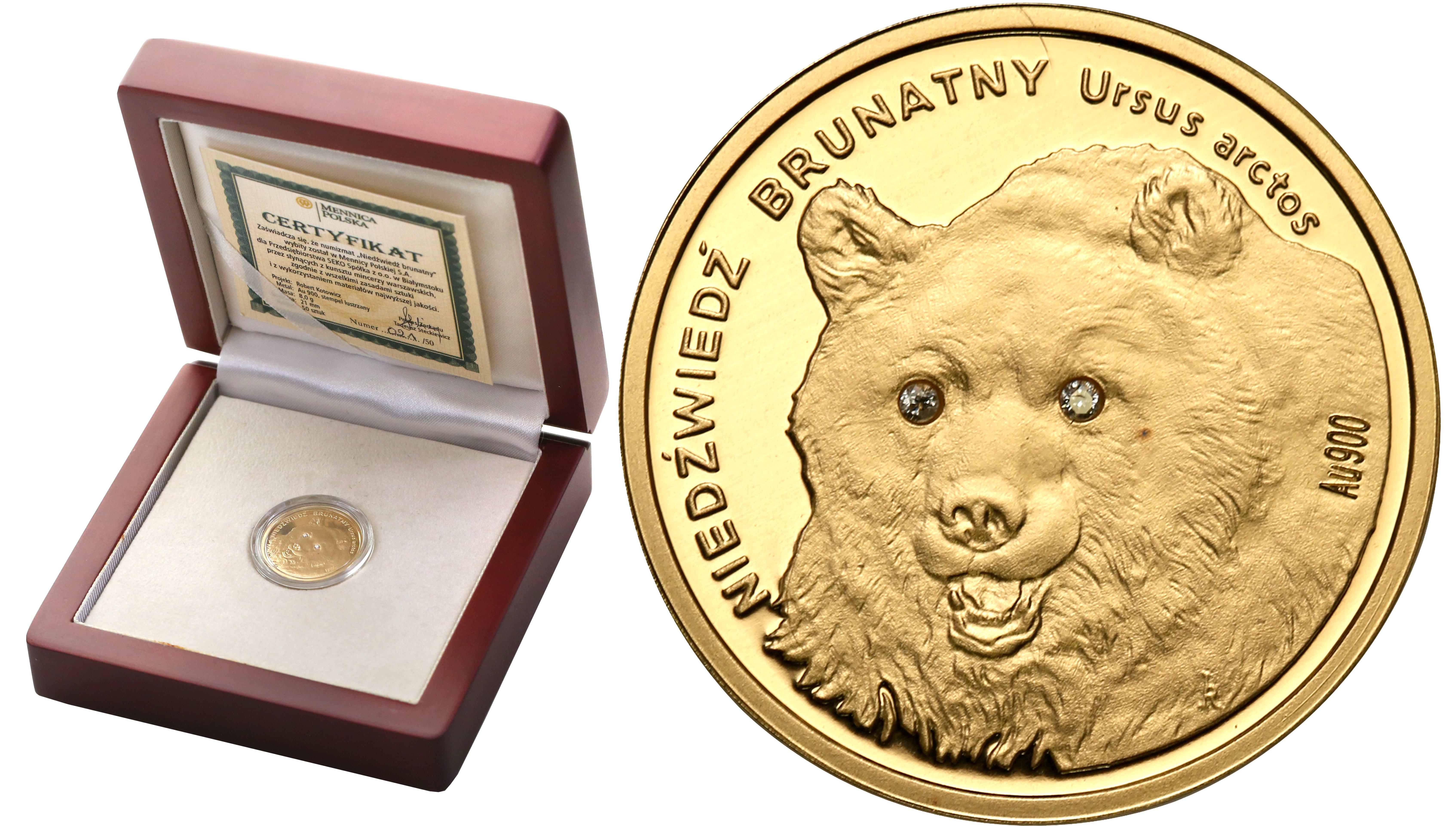 Ochrona Zwierząt 2008. Niedźwiedź Brunatny – mały , Złoto – tylko 21 egz!
