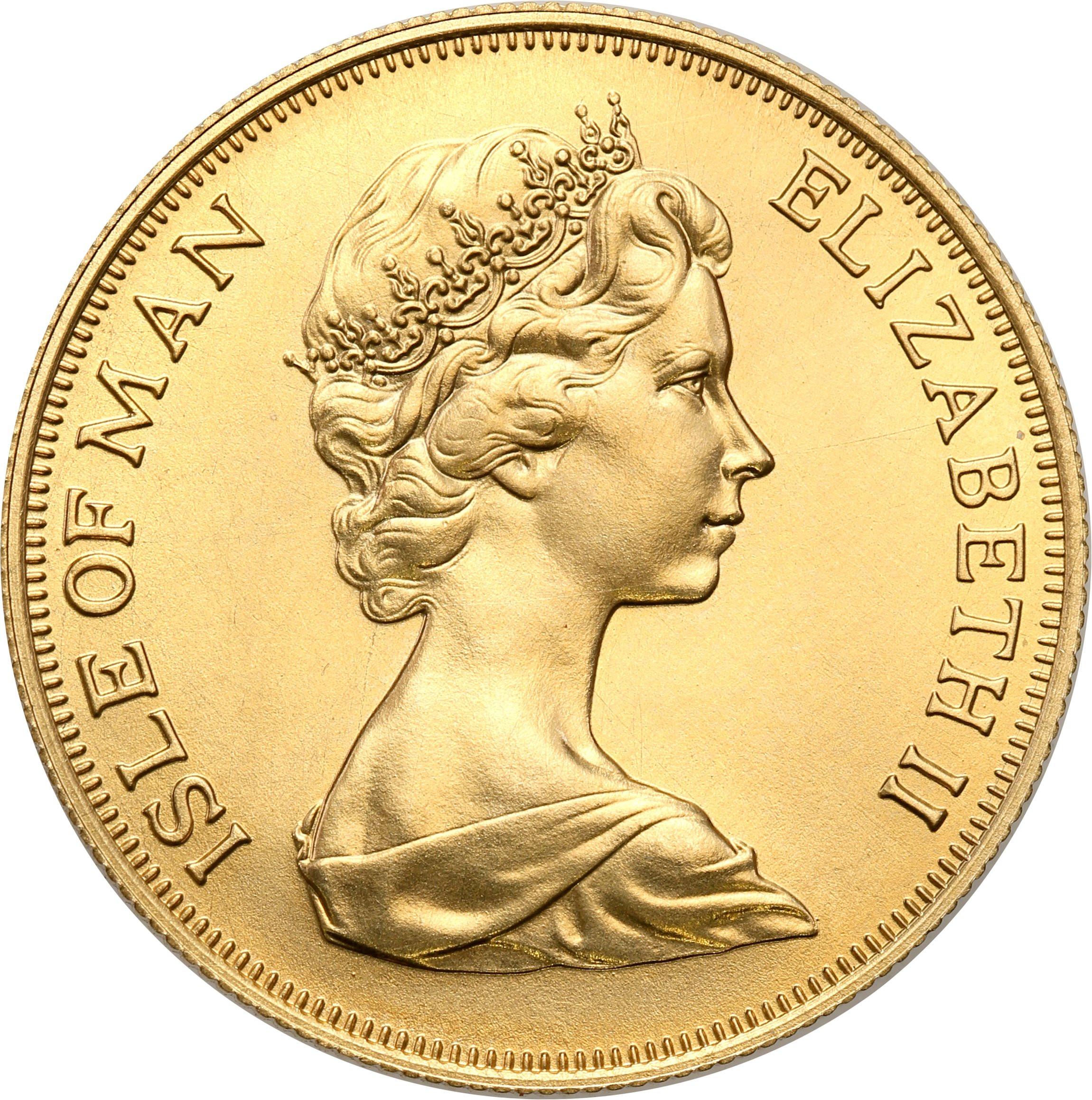 Isle of Man. Elżbieta II. 2 suwereny (funty) 1973 – Złoto
