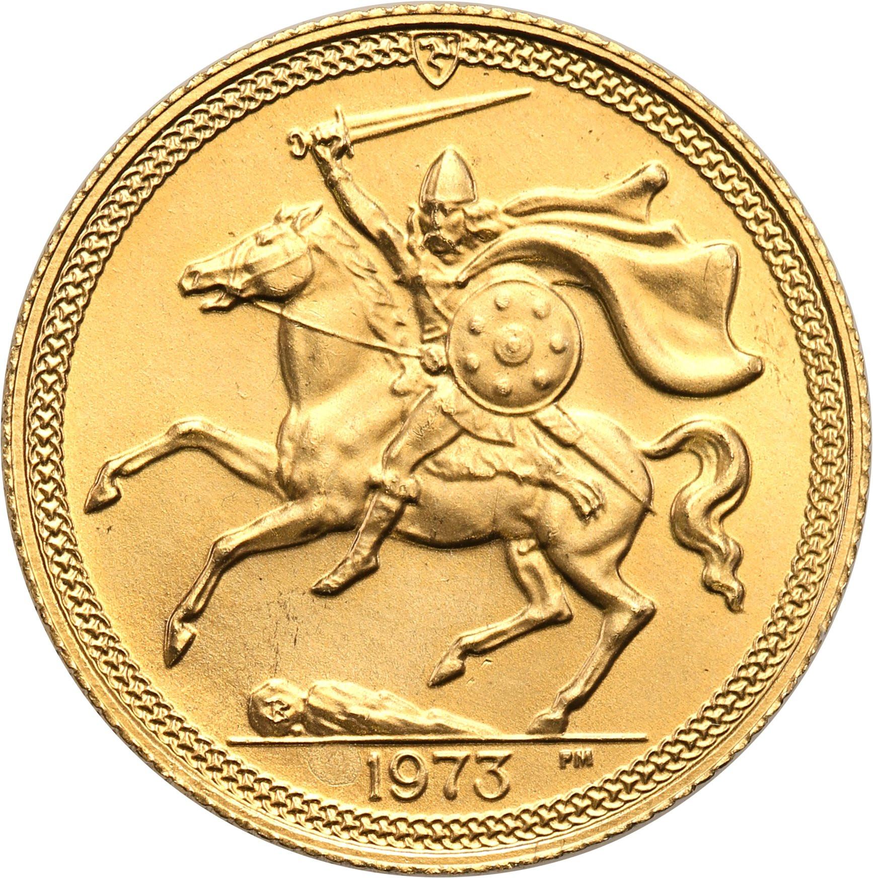 Isle of Man. Elżbieta II. 1 suweren (funt) 1973 – Złoto
