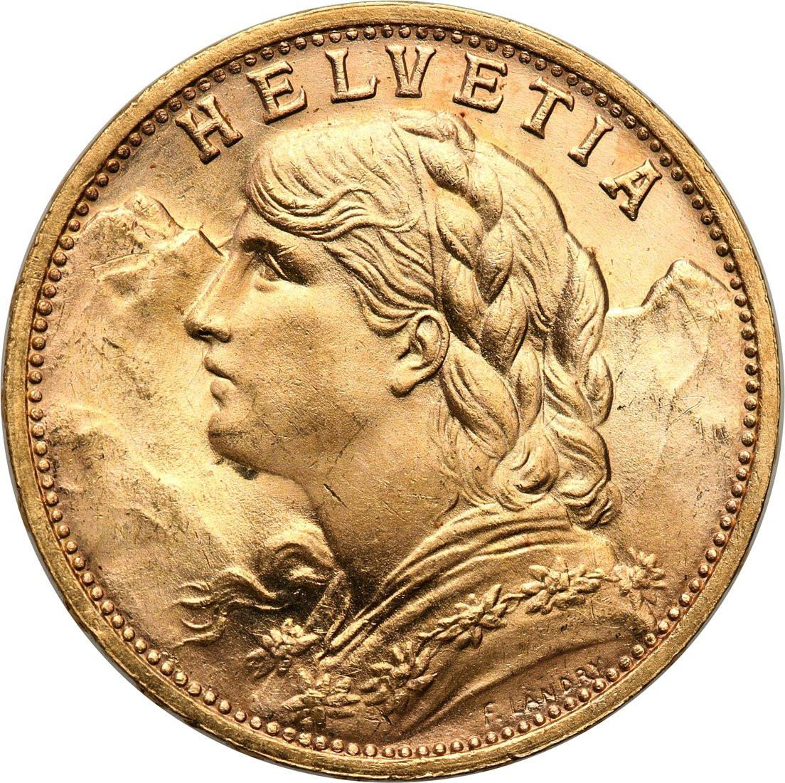 Szwajcaria. Helvetia 20 franków 1935