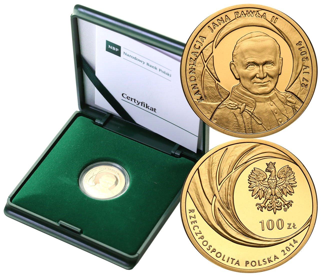 III RP 100 złotych 2014 Kanonizacja Jana Pawła II st. L