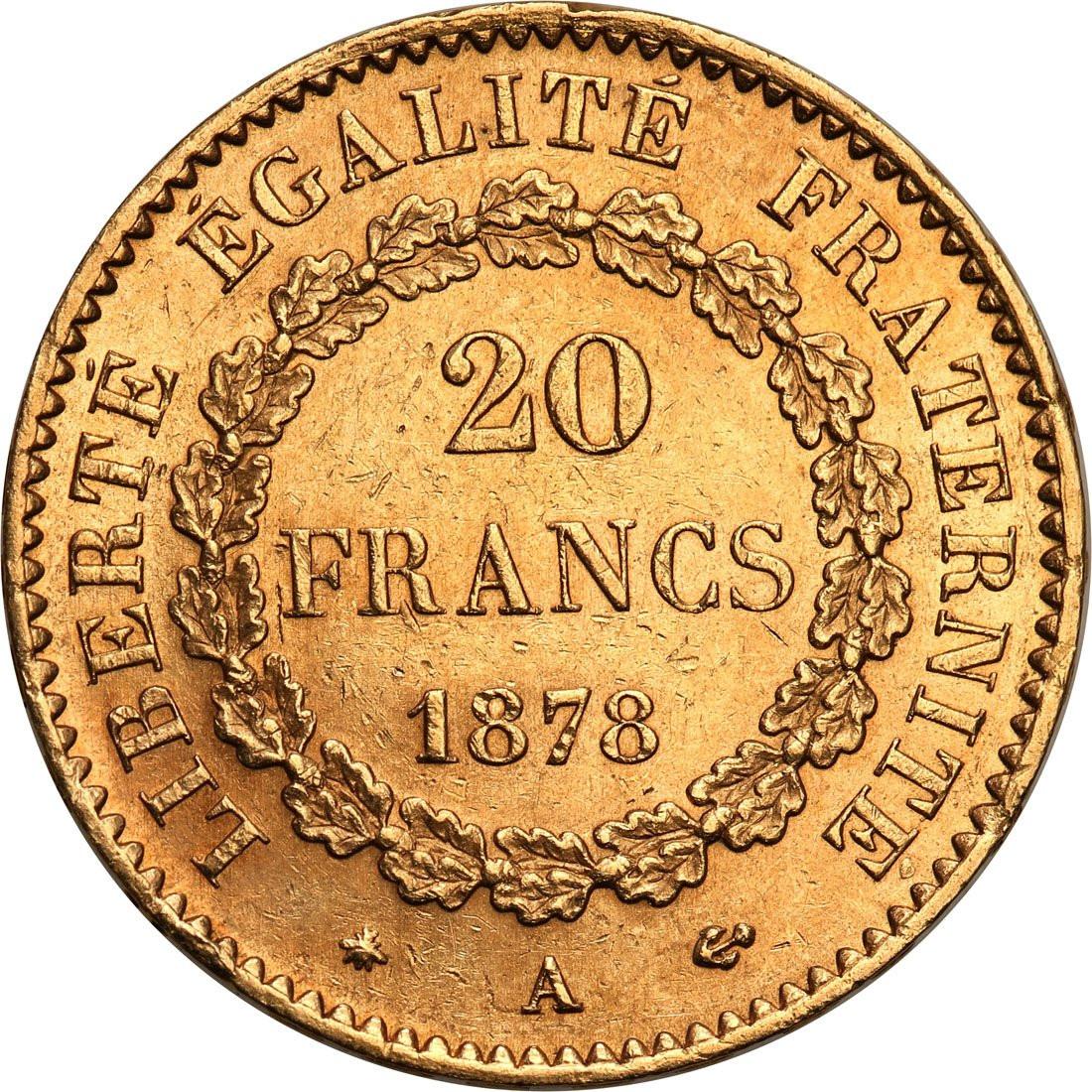 Francja III Republika. 20 franków 1878 A-Paryż - ANIOŁ