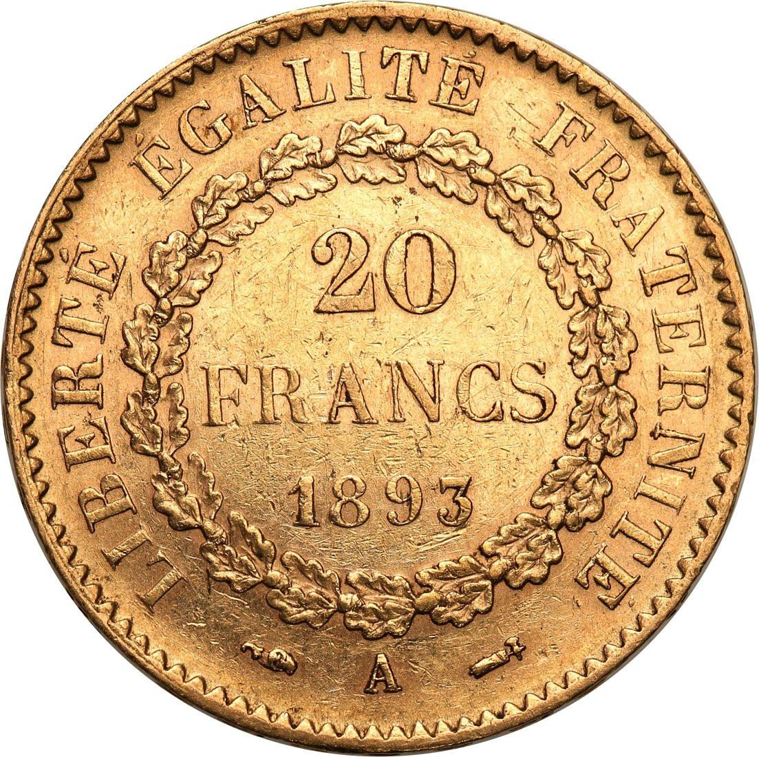 Francja III Republika. 20 franków 1893 A-Paryż - ANIOŁ