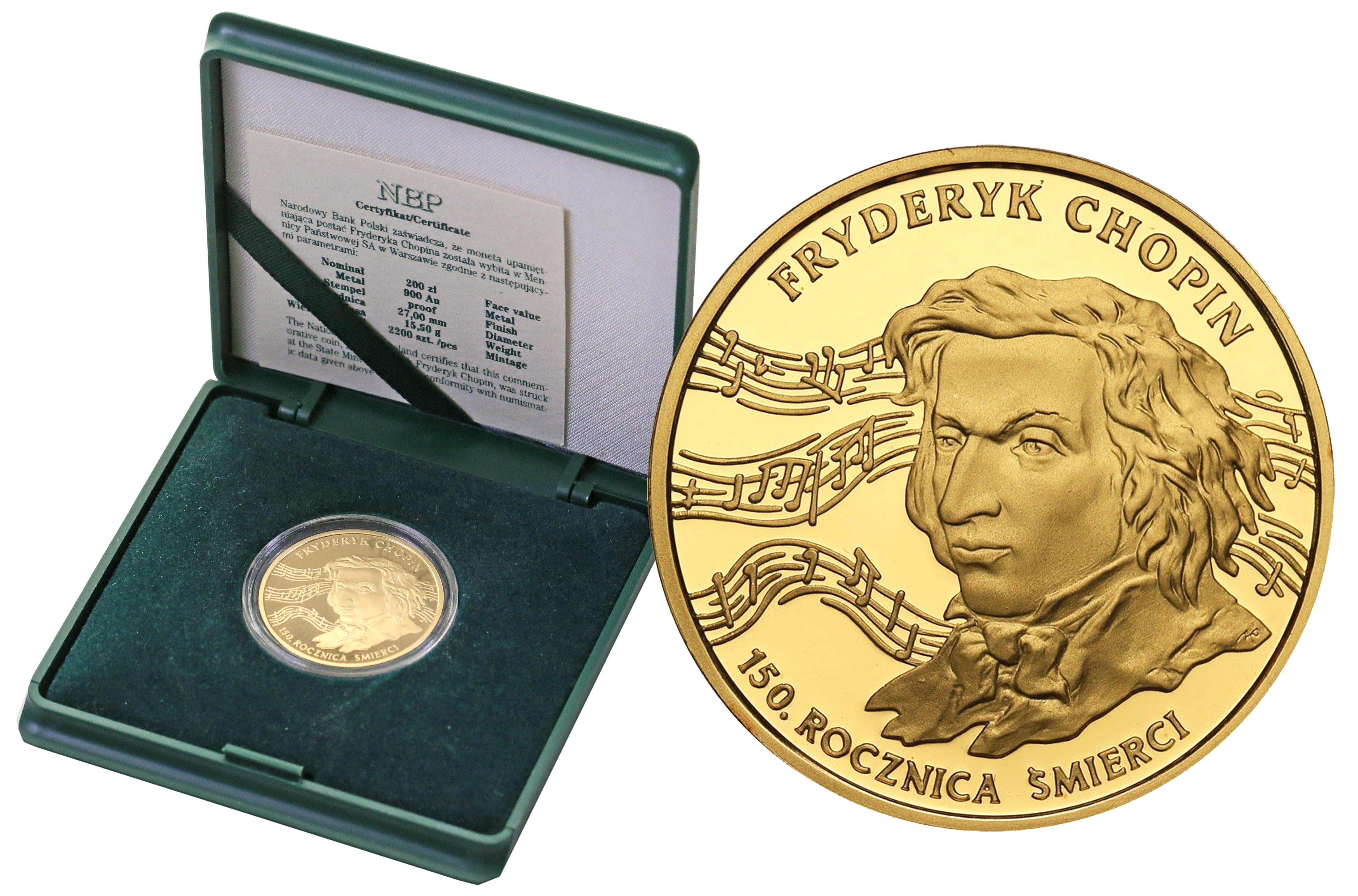 III RP 200 złotych 1999 Fryderyk Chopin - 150. Rocznica Śmierci