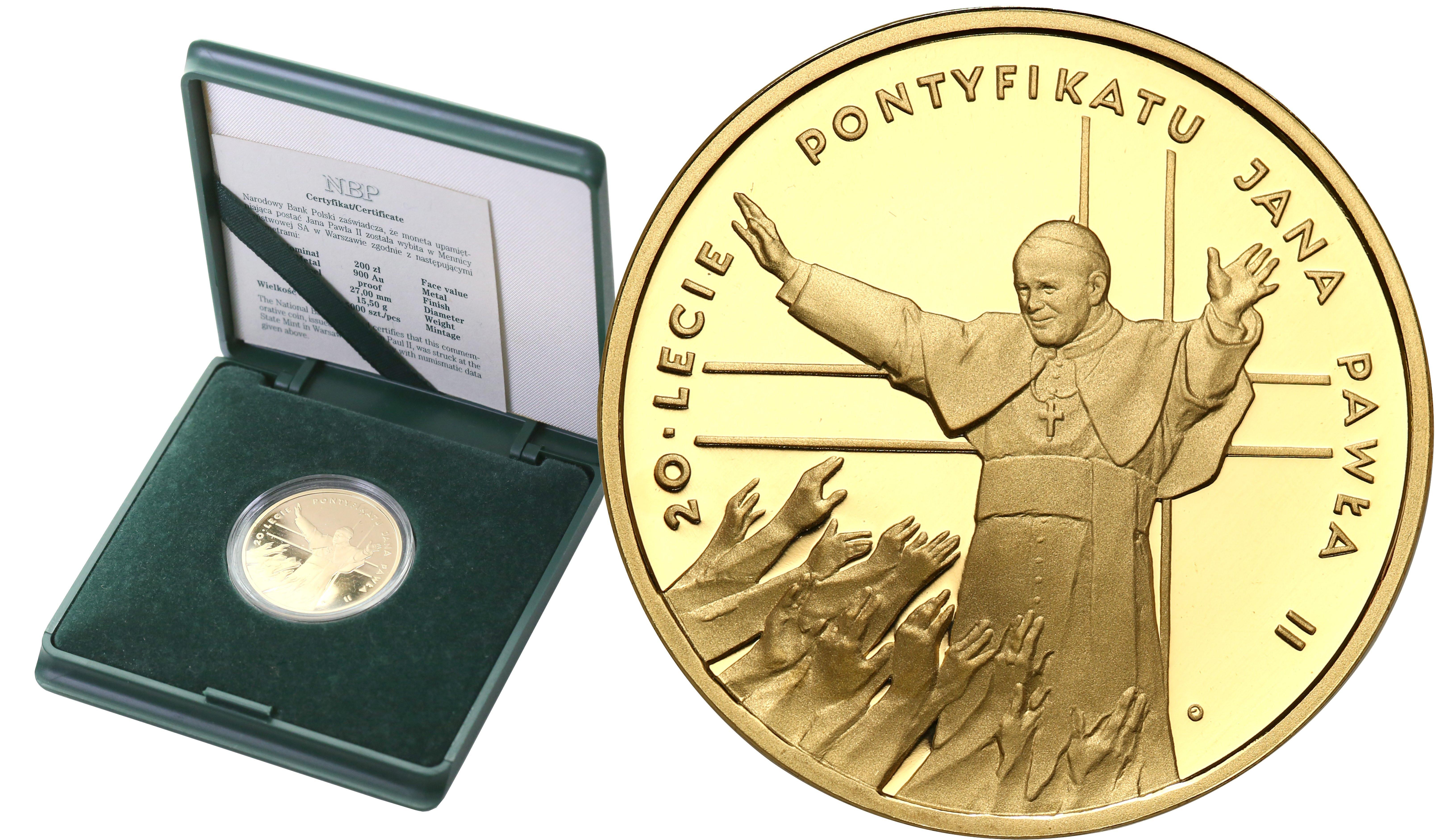III RP. 200 złotych 1998 Jan Paweł II 20 lat Pontyfikatu