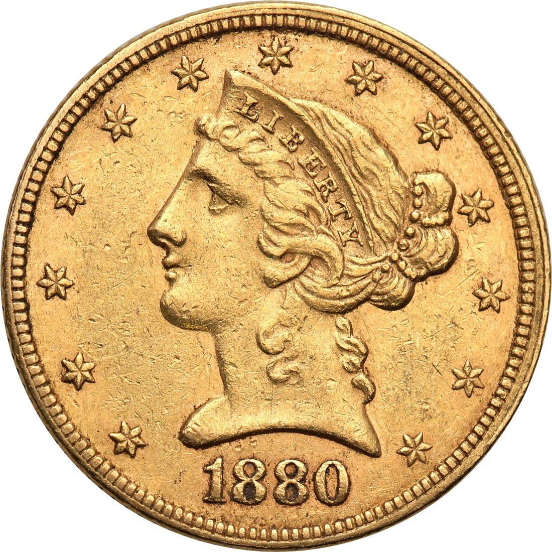 USA 5 dolarów 1880 Filadelfia st. 1-/2+